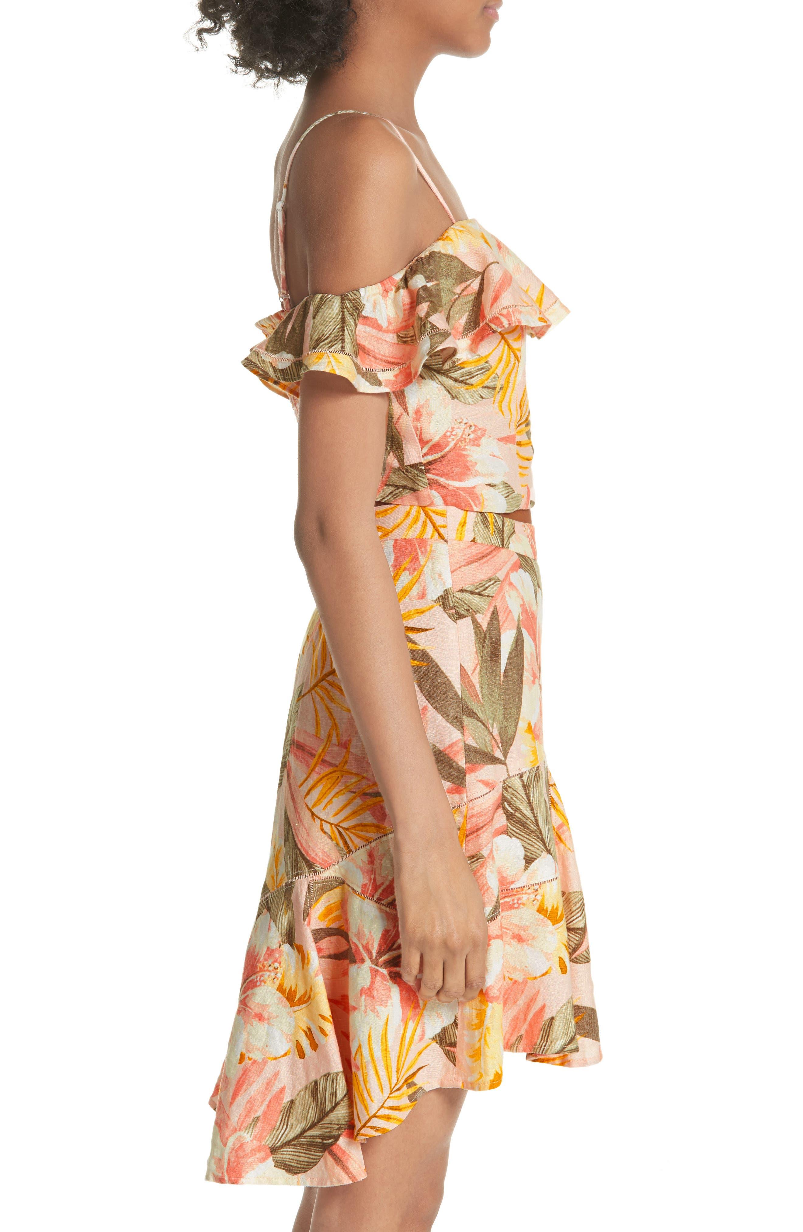 Jazbeth Floral Linen Top,                             Alternate thumbnail 3, color,                             Dusty Nude