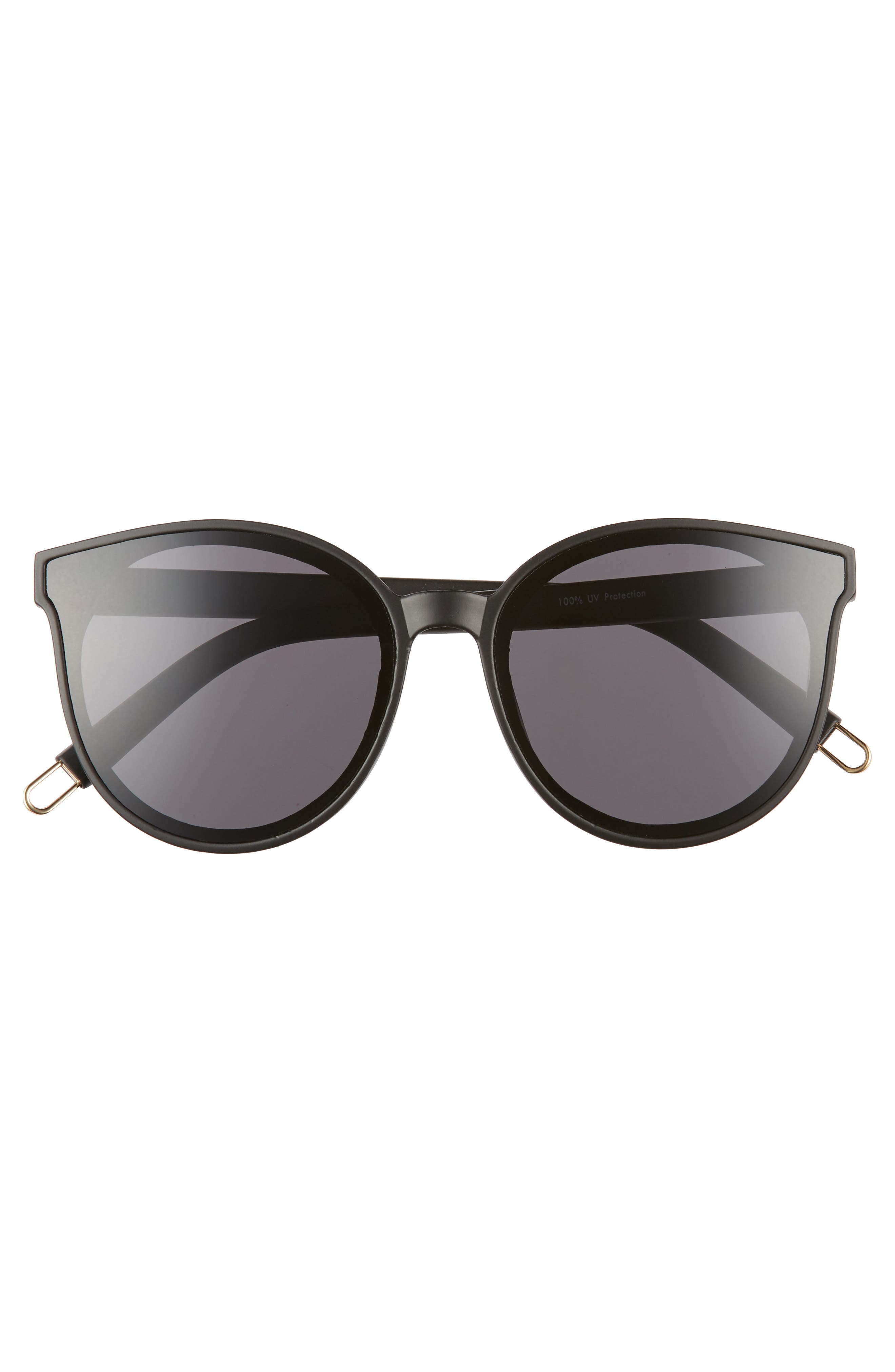 59mm Metal Tip Round Sunglasses,                             Alternate thumbnail 3, color,                             Black