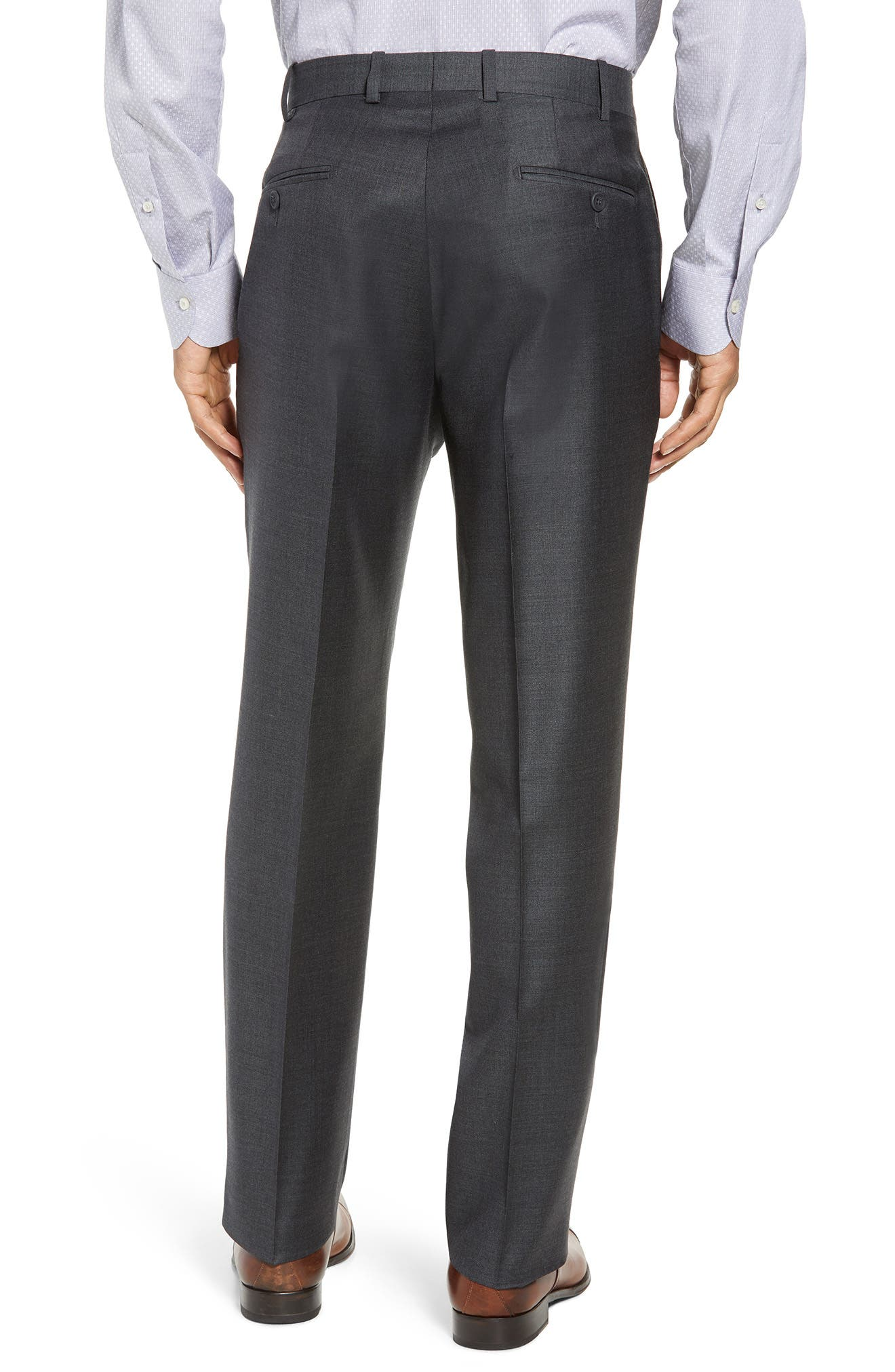 Torino Flat Front Solid Wool Trousers,                             Alternate thumbnail 2, color,                             Charcoal
