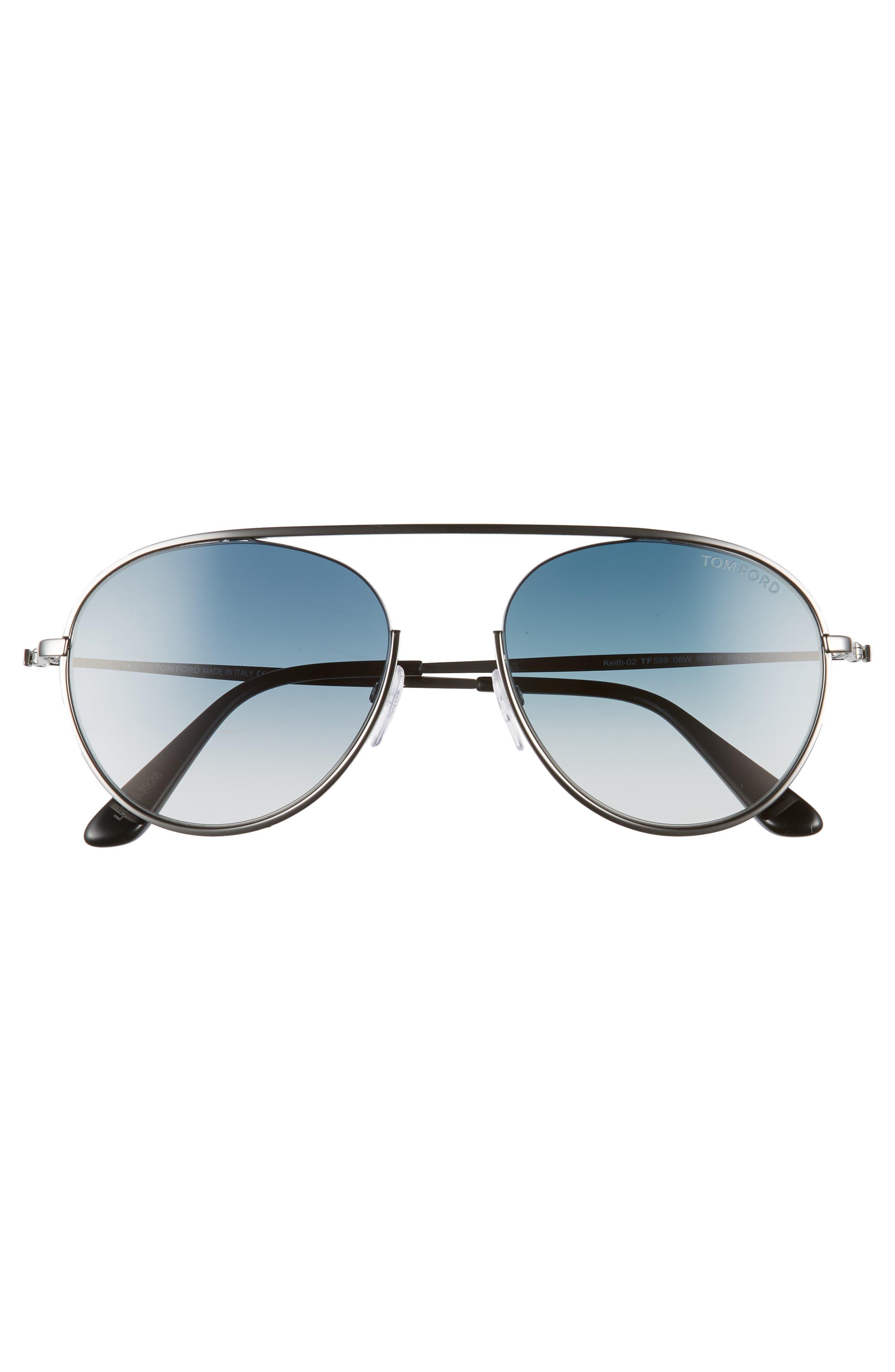Keith 55mm Metal Aviator Sunglasses,                             Alternate thumbnail 3, color,                             Shiny Gumetal/ Gradient Blue