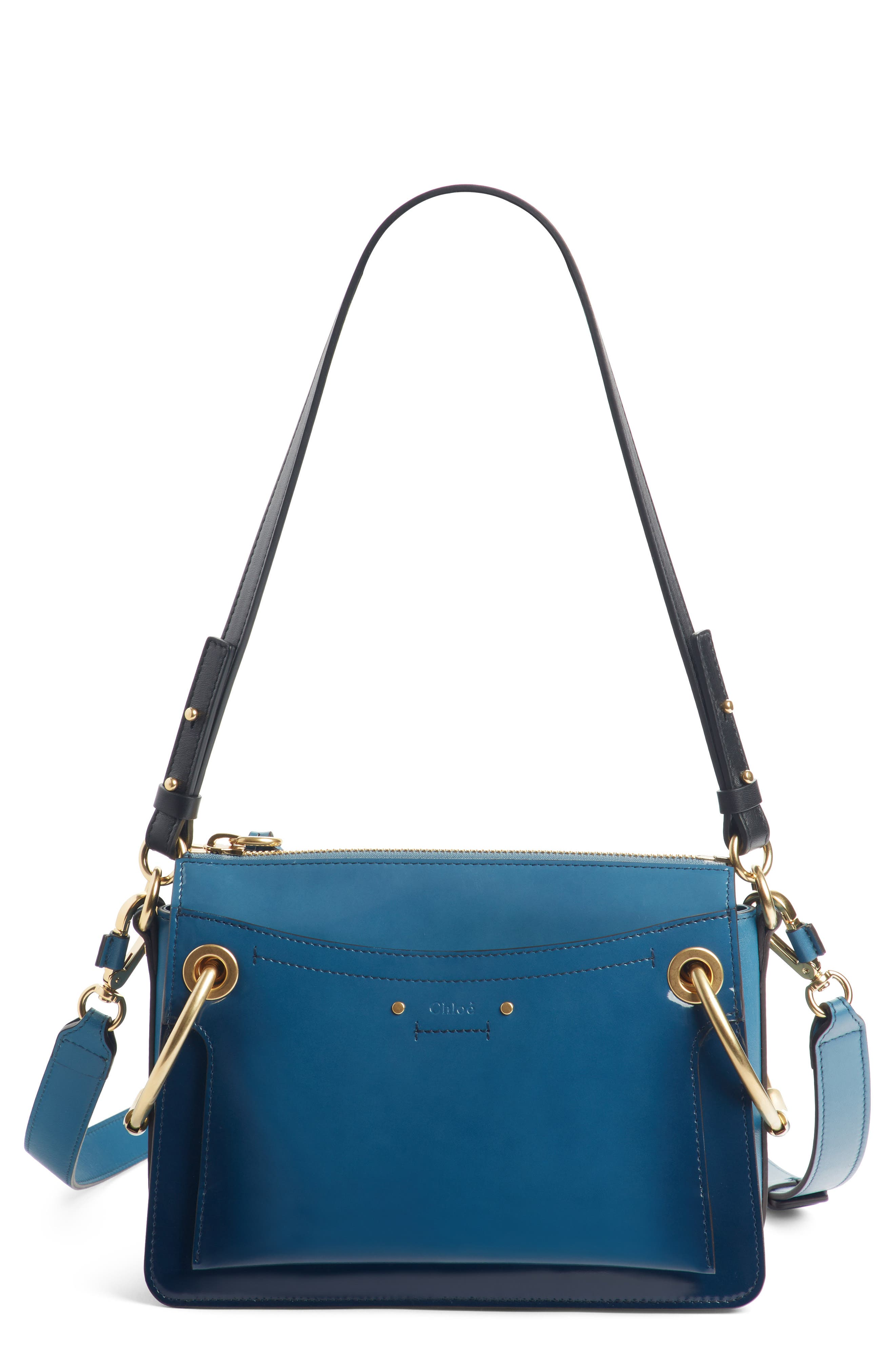 Large Roy Leather Shoulder Bag,                             Main thumbnail 1, color,                             Vinyl Blue