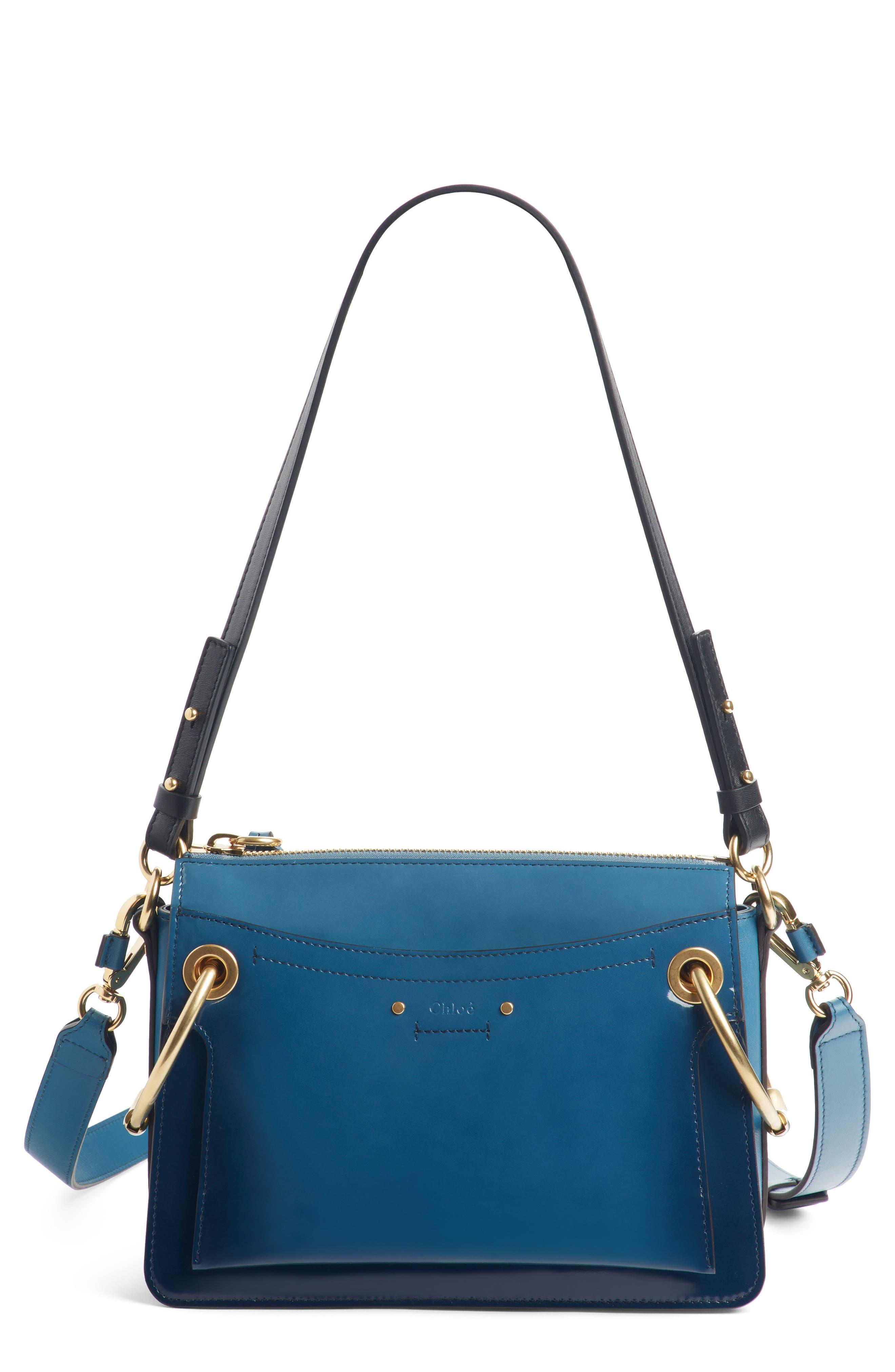 Large Roy Leather Shoulder Bag,                         Main,                         color, Vinyl Blue