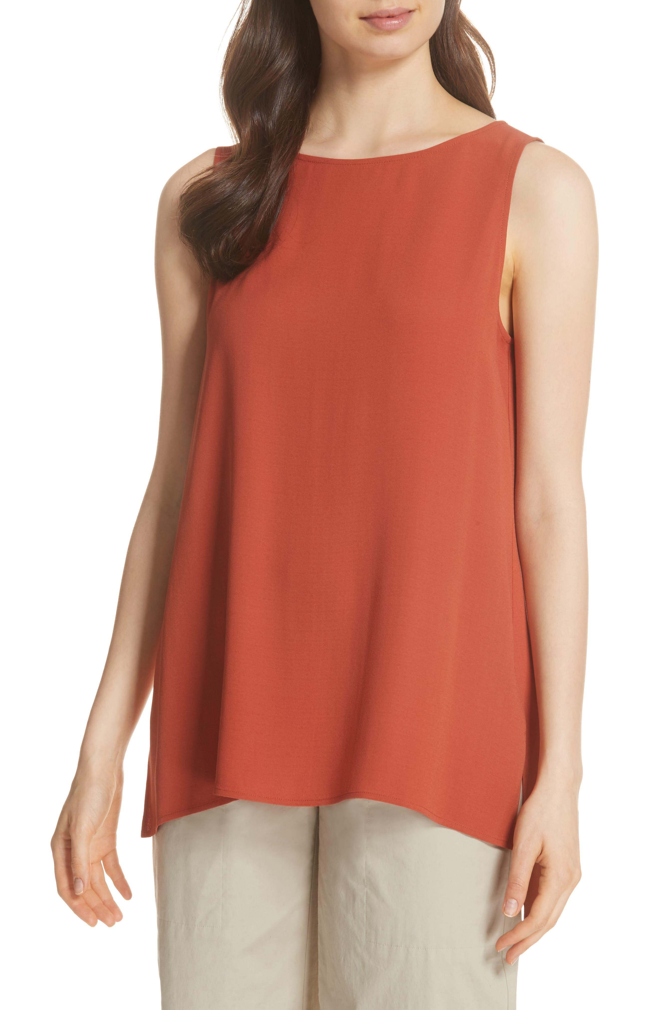 Long Bateau Neck Silk Shell,                         Main,                         color, Orange Pekoe