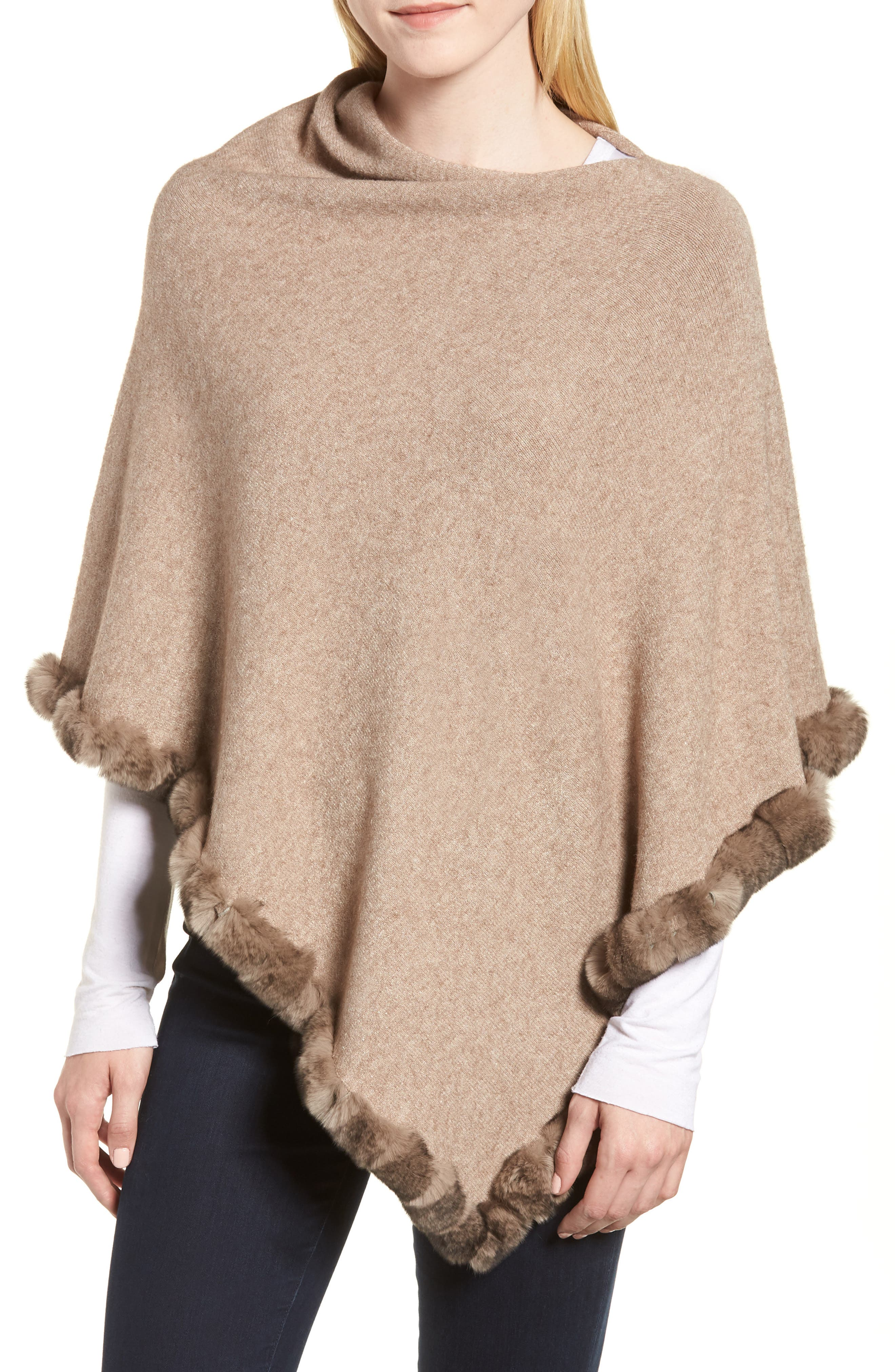 Angled Poncho with Genuine Rabbit Fur Trim,                             Main thumbnail 1, color,                             Oatmeal