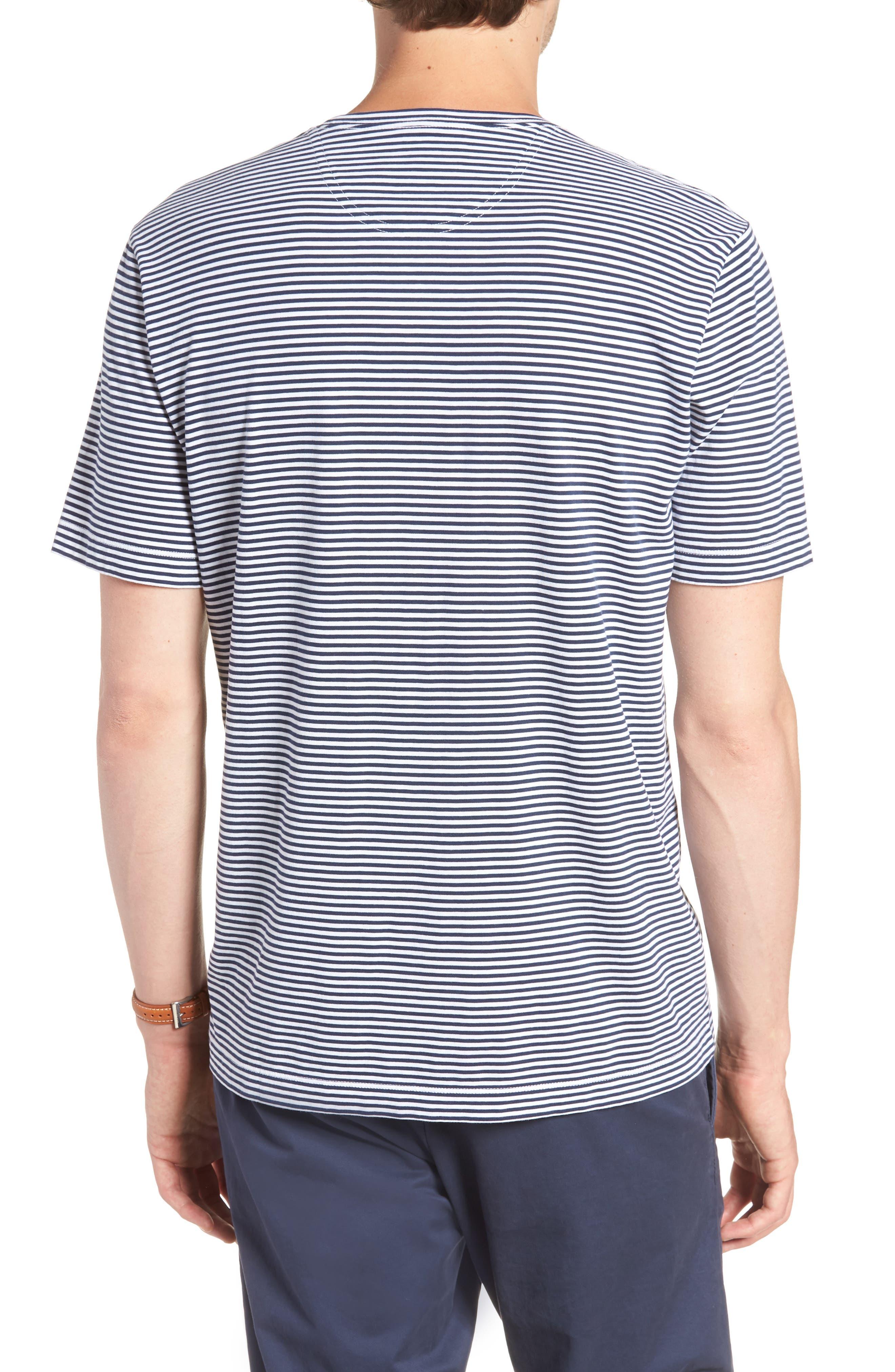 Stripe Brushed Pima Cotton T-Shirt,                             Alternate thumbnail 2, color,                             Navy Iris Mini Stripe