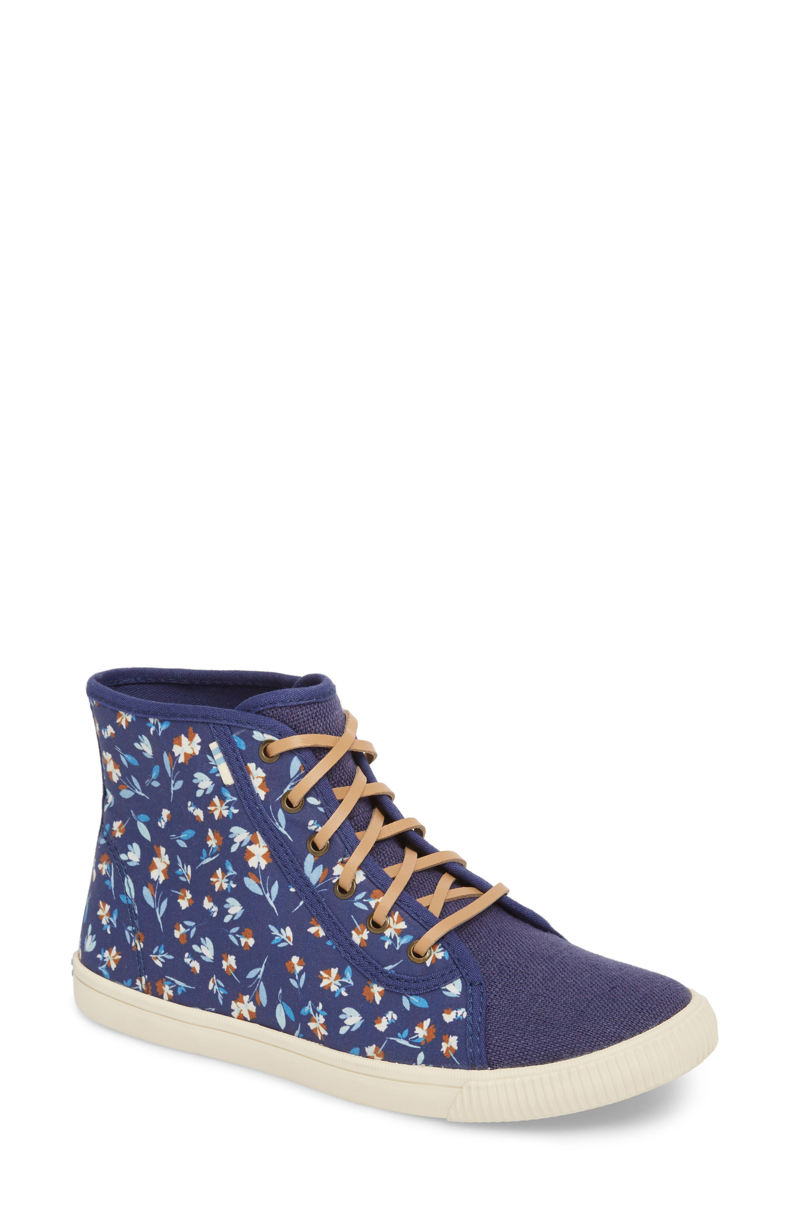 Camarillo High Top Sneaker,                         Main,                         color, Deep Blue Vintage Flower