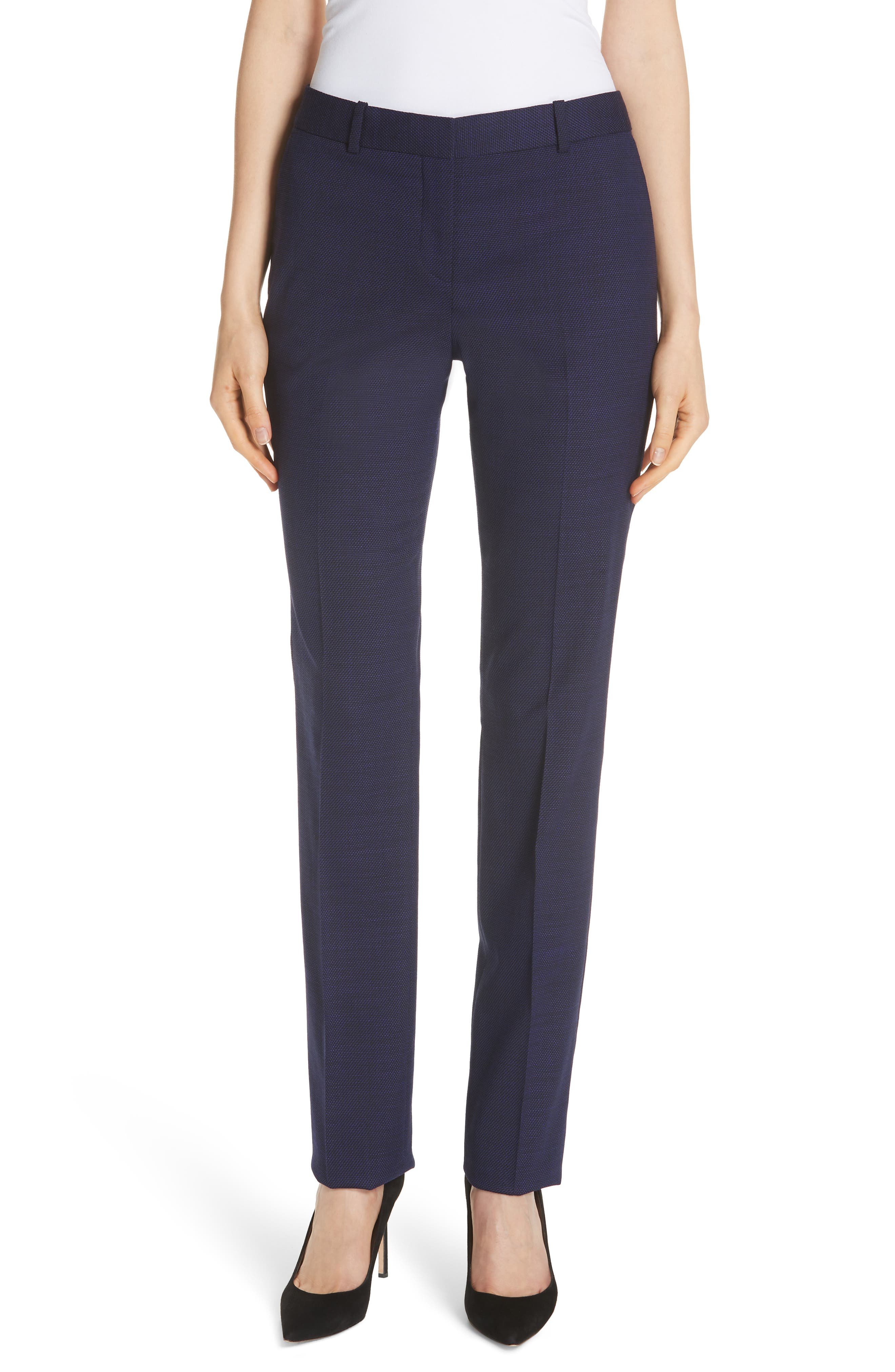 Titana Mini Glencheck Straight Leg Suit Pants,                         Main,                         color, Deep Lilac Fantasy