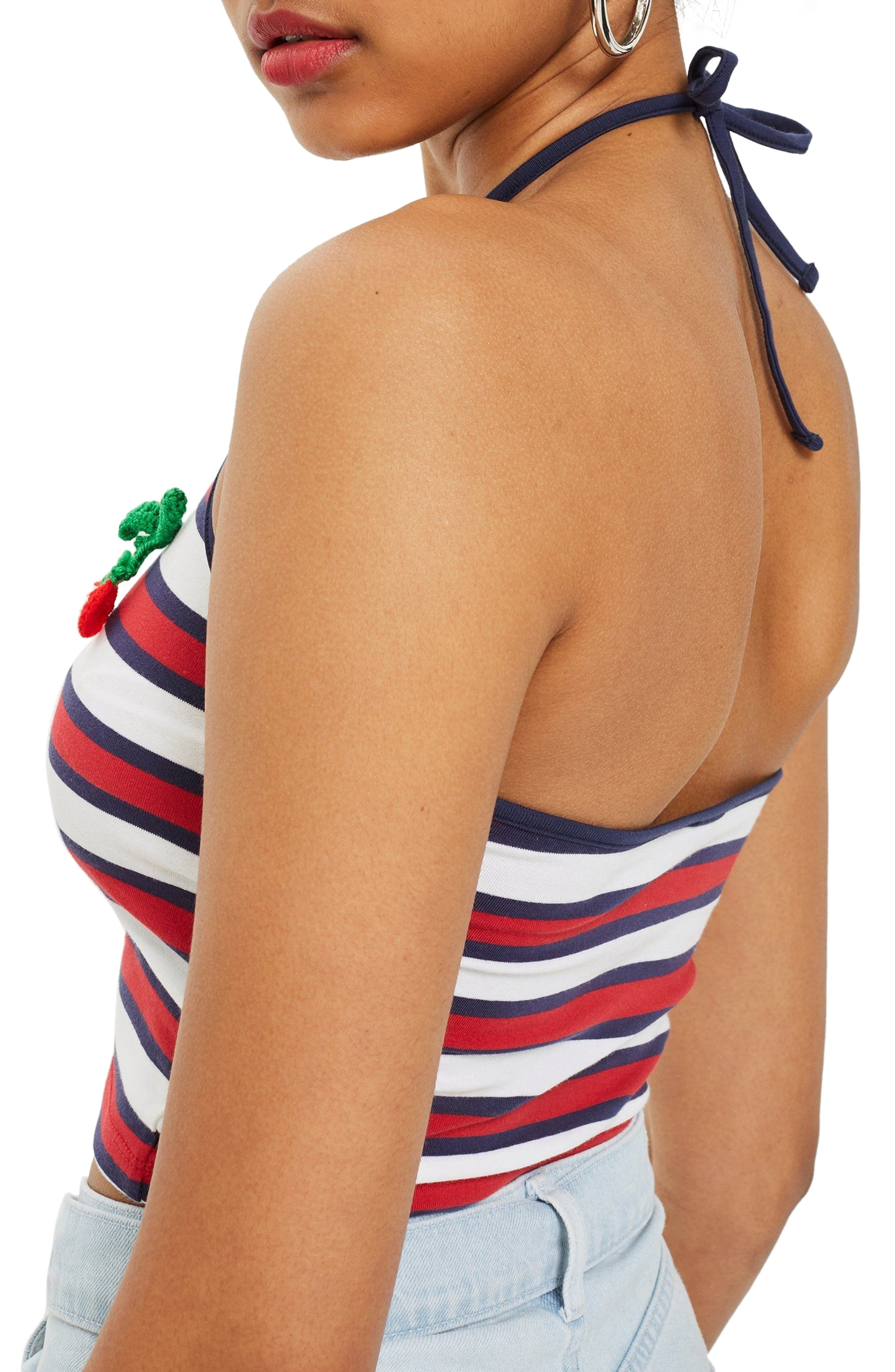 Cherry Embroidered Stripe Halter Top,                             Alternate thumbnail 2, color,                             Navy Blue Multi
