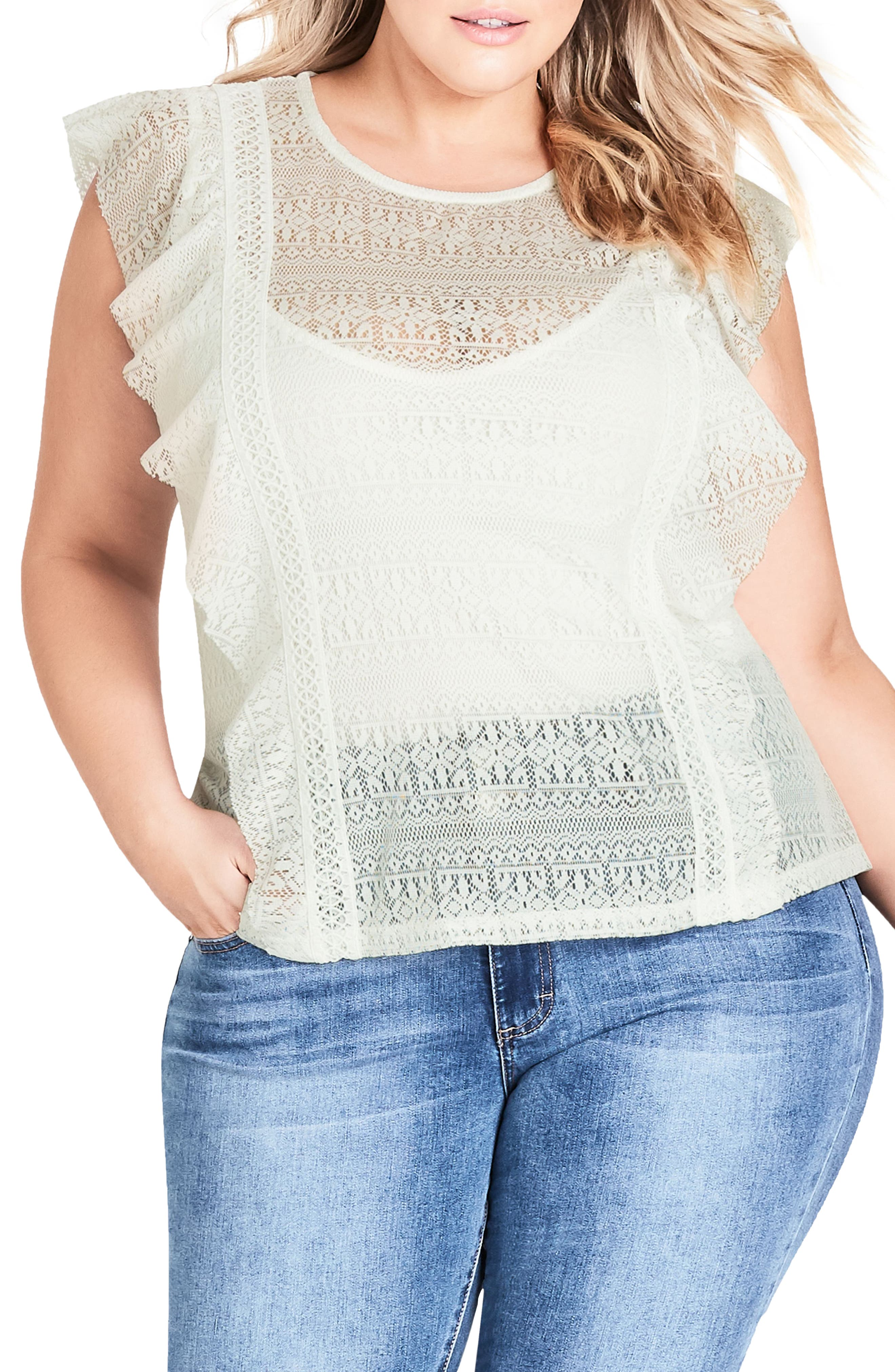 Dreamy Lace Top,                             Main thumbnail 1, color,                             Ivory