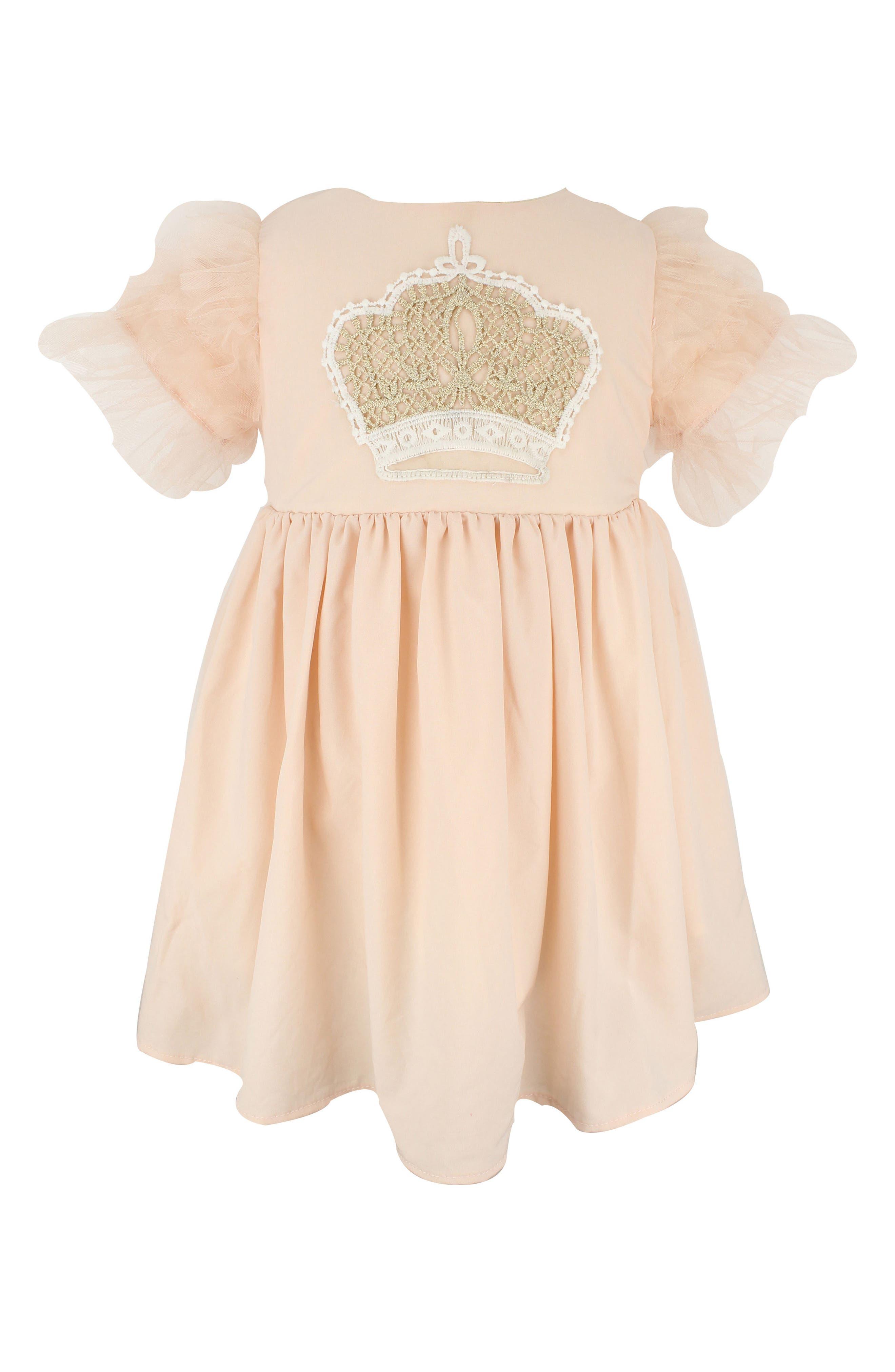 Crown Appliqué Dress,                             Main thumbnail 1, color,                             Peach