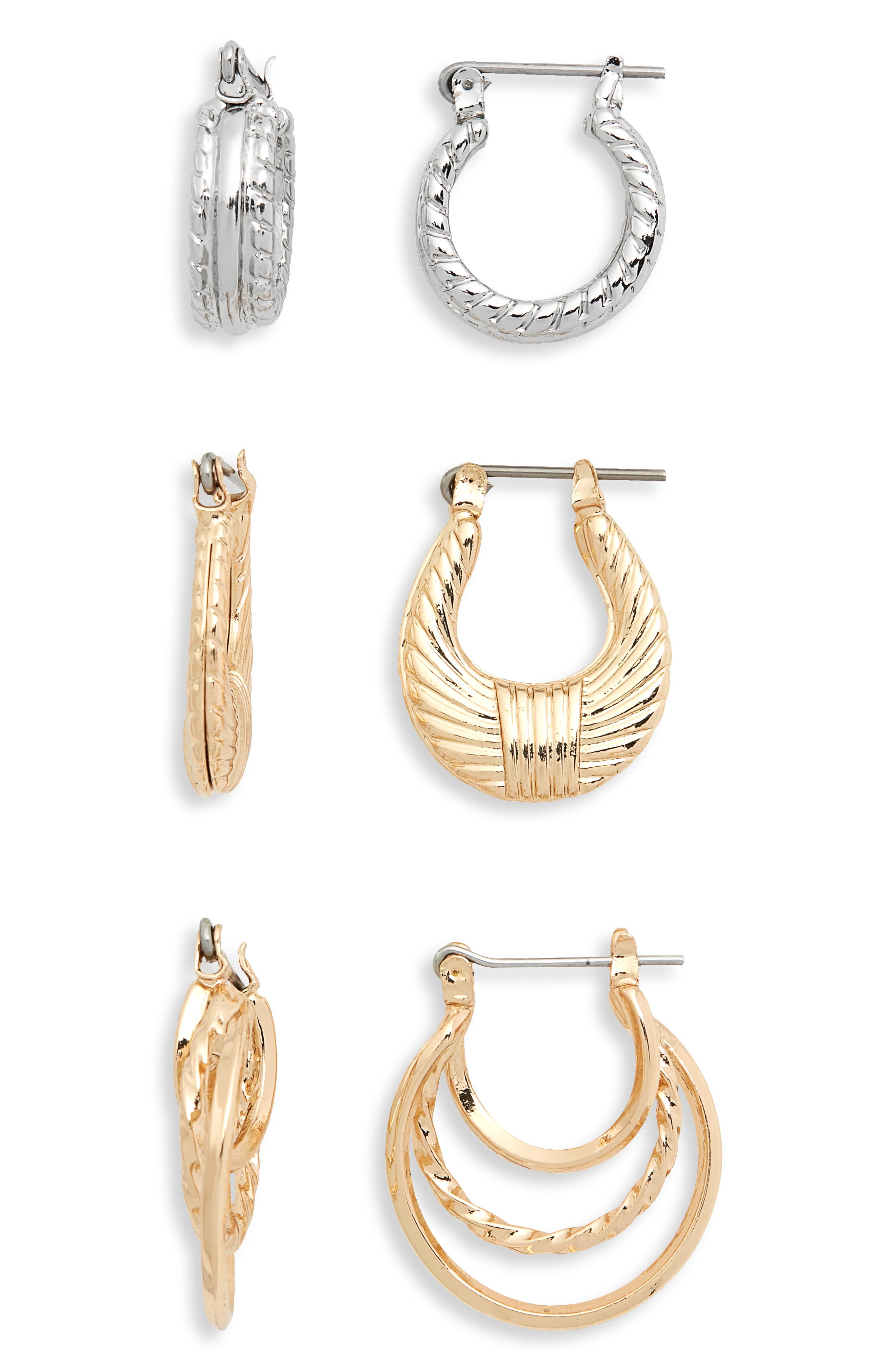 Assorted 3-Pack Textured Mini Hoop Earrings,                         Main,                         color, Gold/ Silver