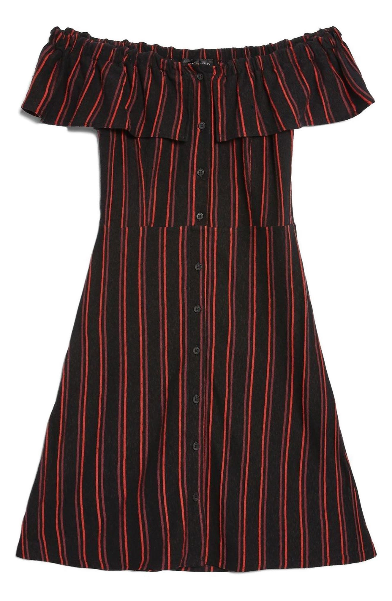 Stripe Frill Bardot Dress,                             Alternate thumbnail 3, color,                             Black Multi