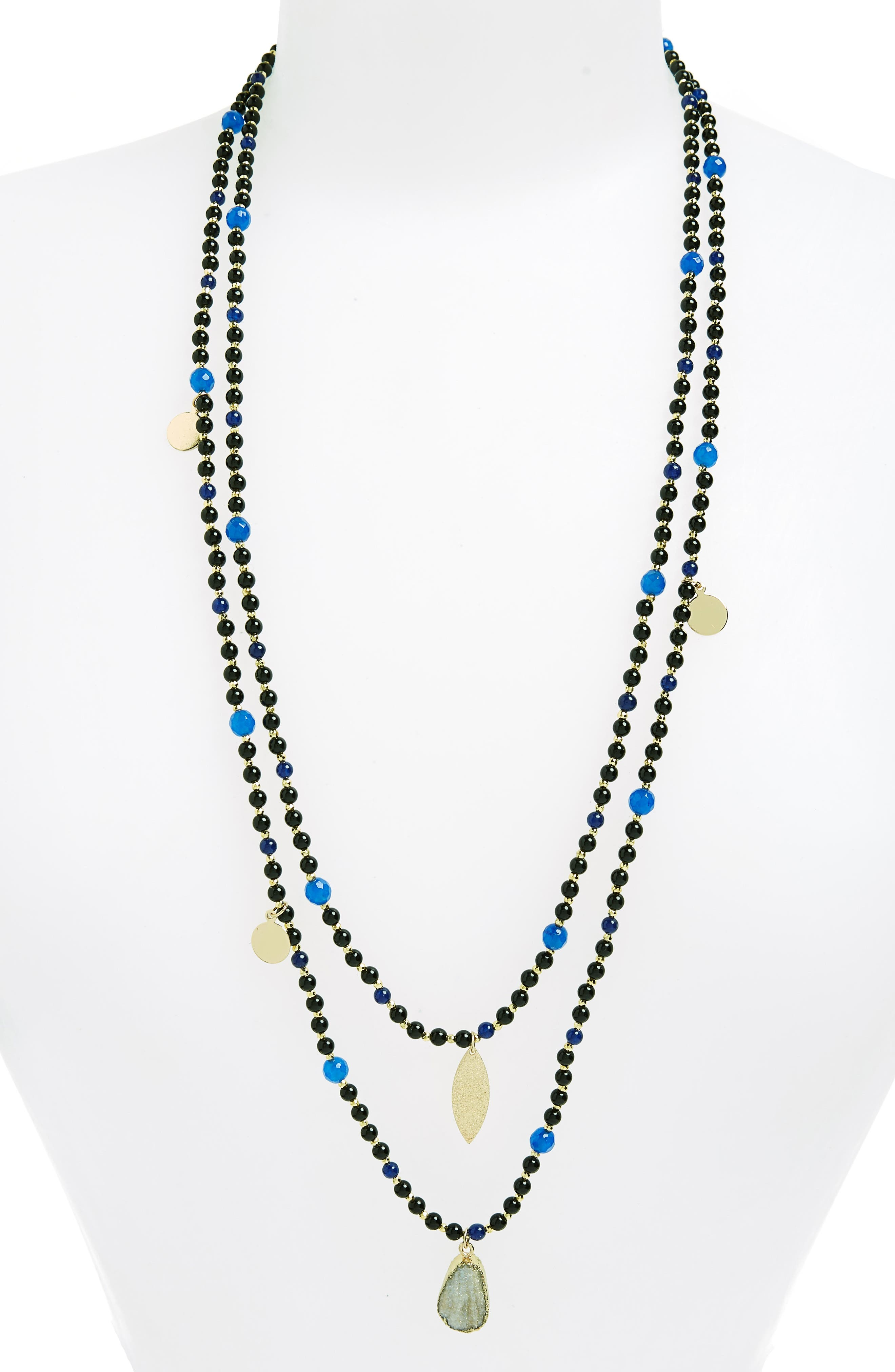 Layer Bead Necklace,                             Main thumbnail 1, color,                             Multi