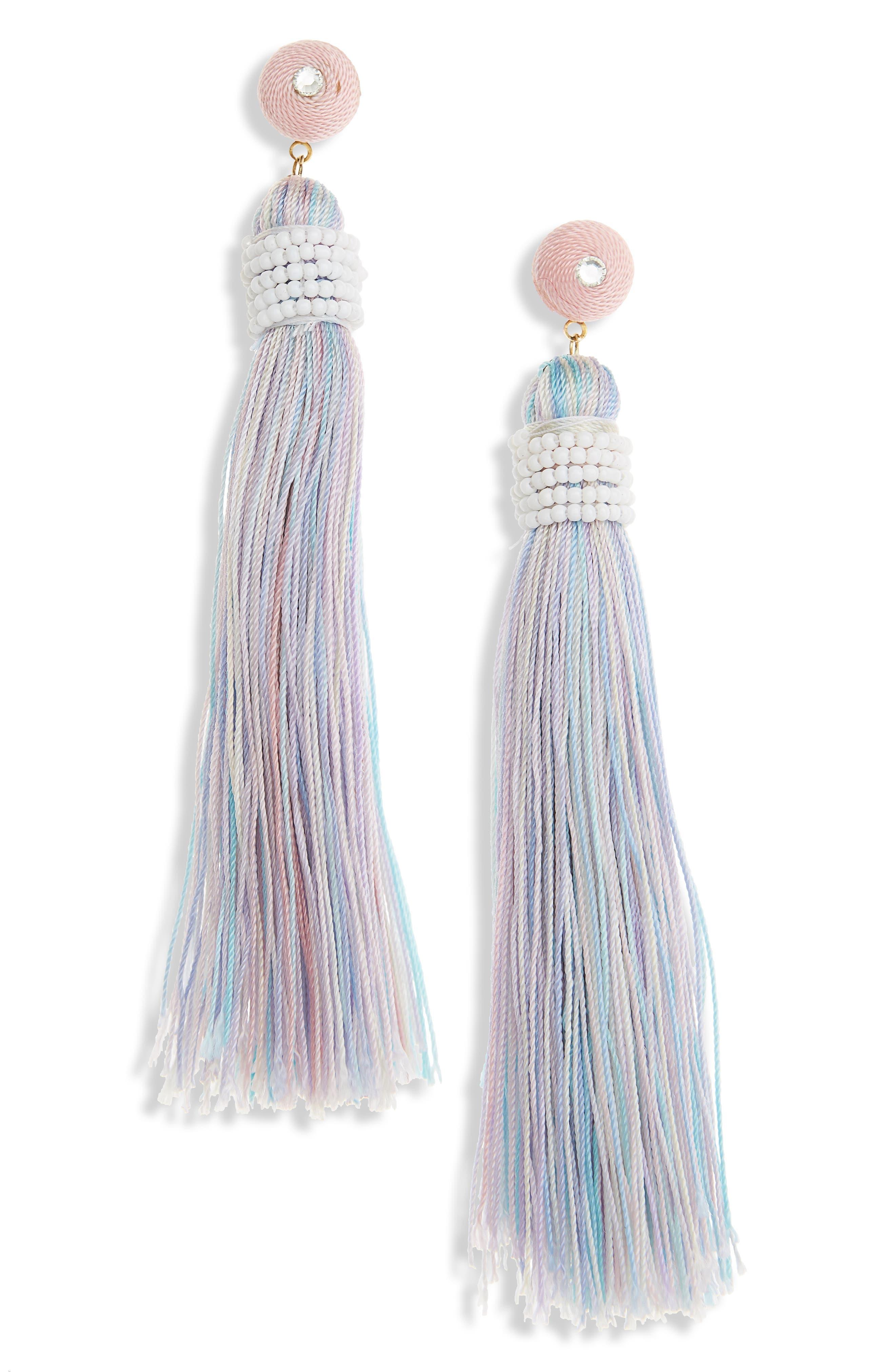 Beaded Wrap Tassel Earrings,                             Main thumbnail 1, color,                             Multi