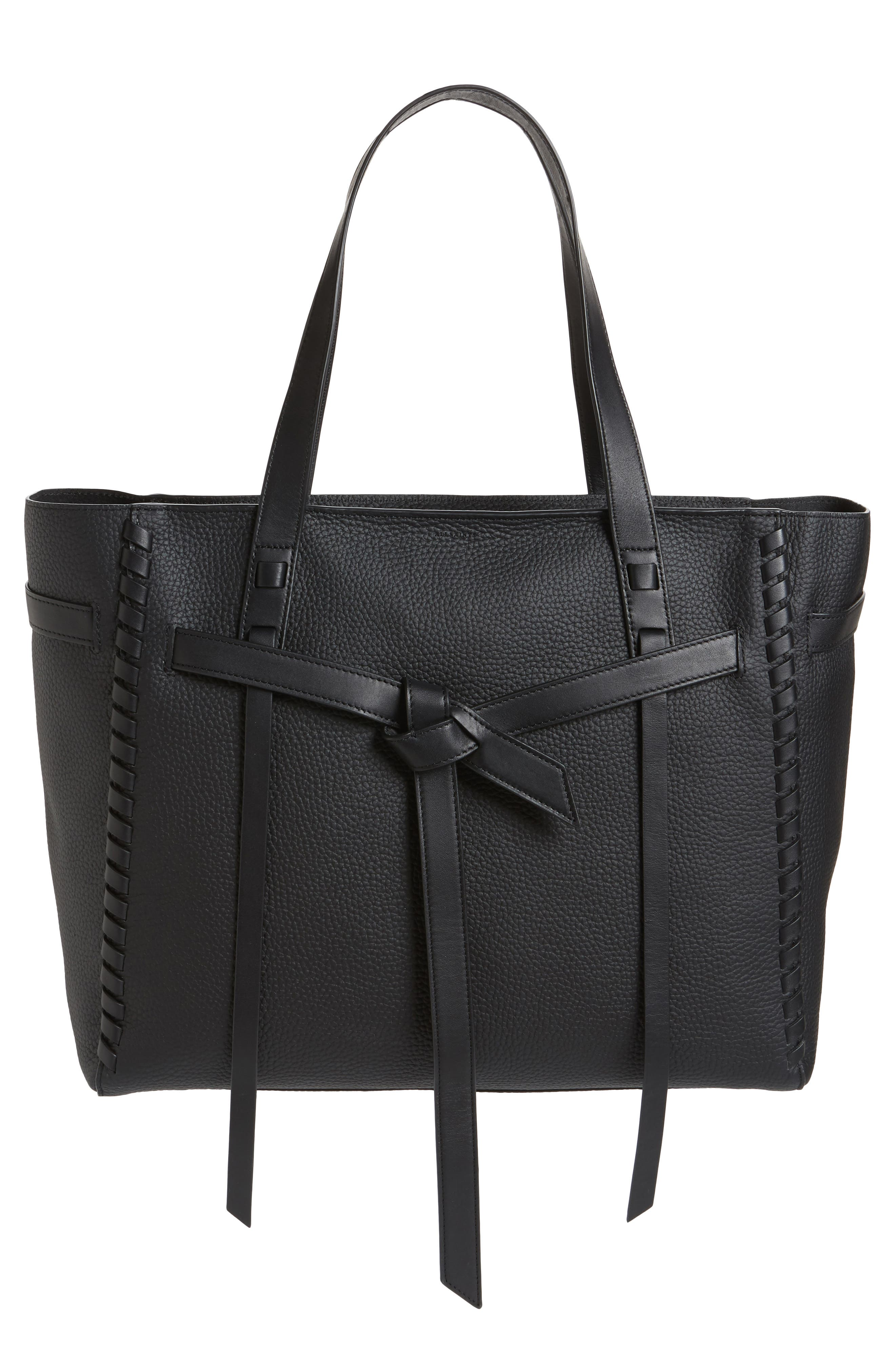 CAMI EAST/WEST LEATHER TOTE - BLACK