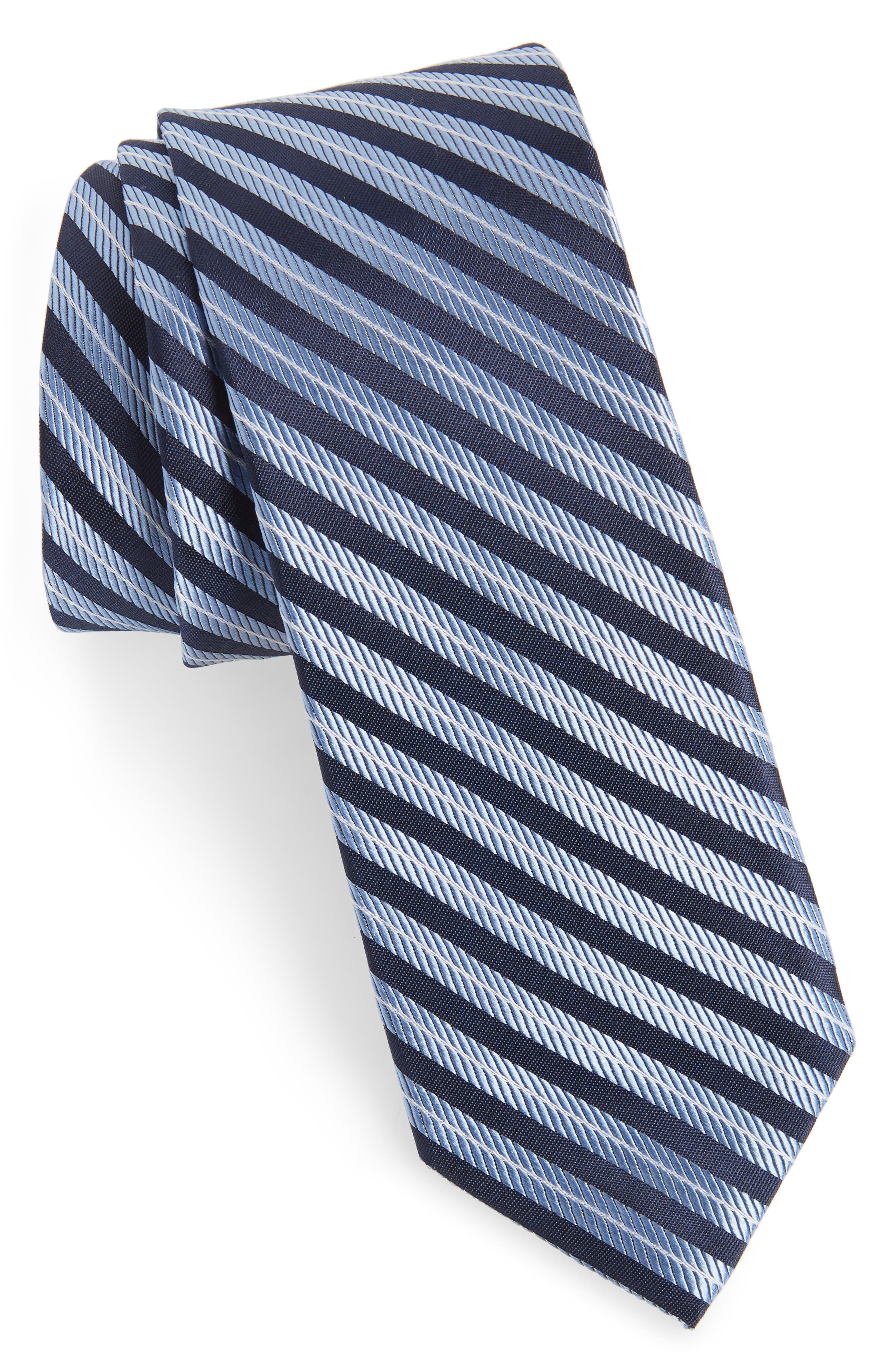 Milliner Stripe Silk Tie,                             Main thumbnail 1, color,                             Blue