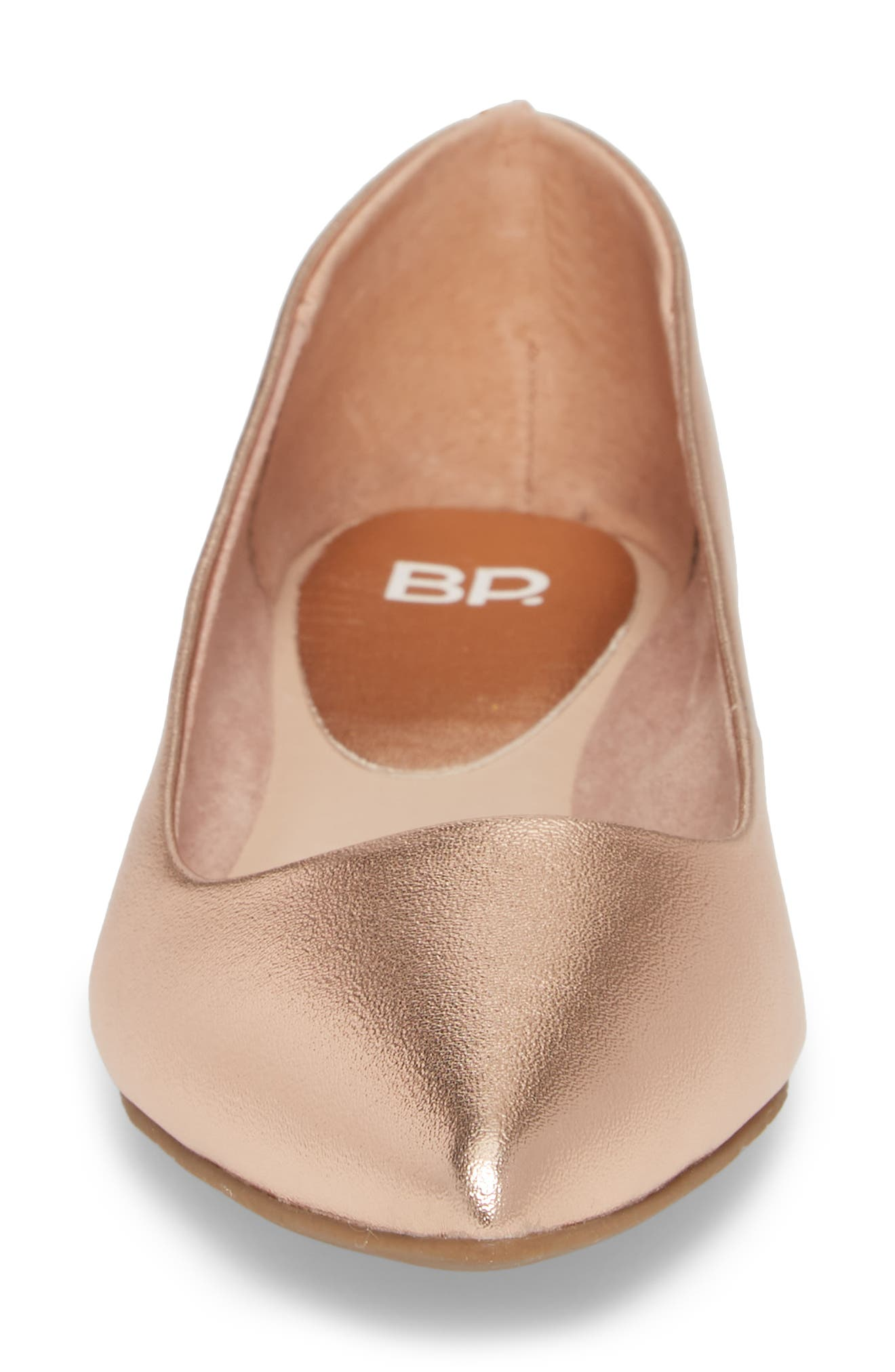 Sasha Flat,                             Alternate thumbnail 3, color,                             Rose Gold Faux Leather