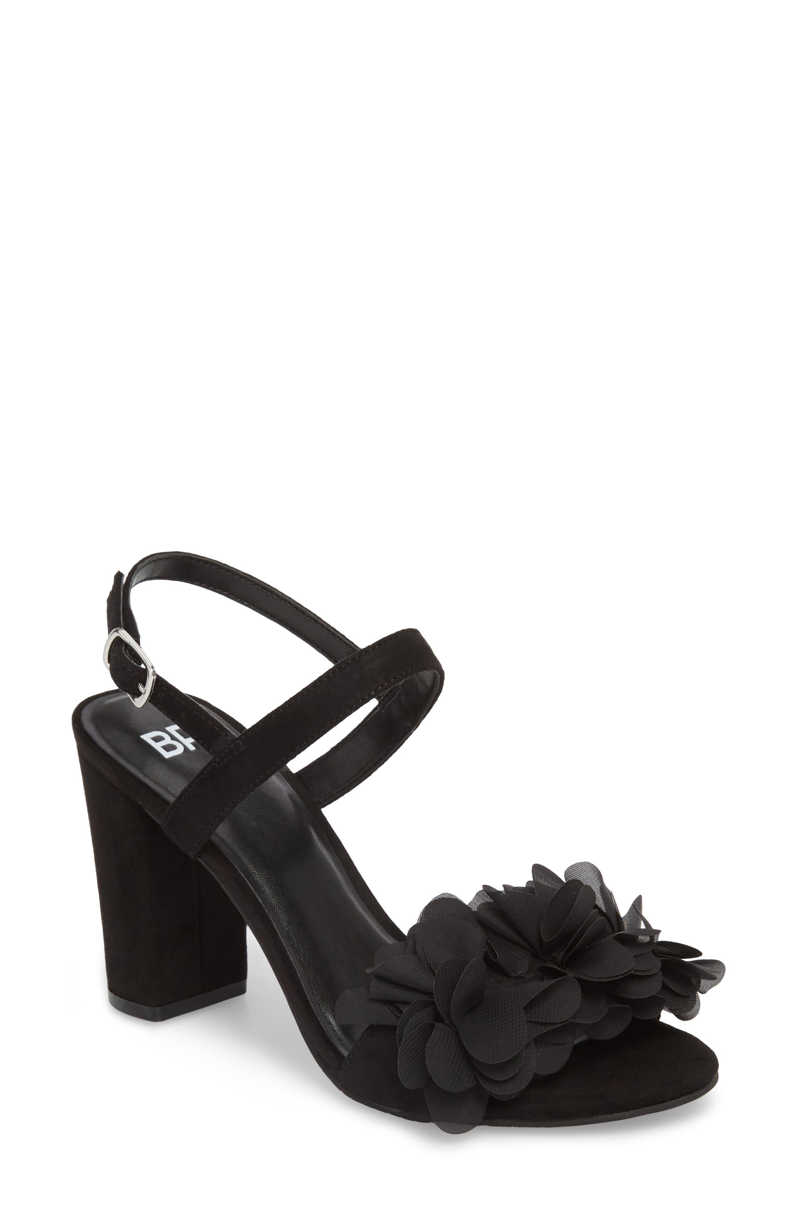 Lula Block Heel Slingback Sandal,                         Main,                         color, Black Flowers Fabric
