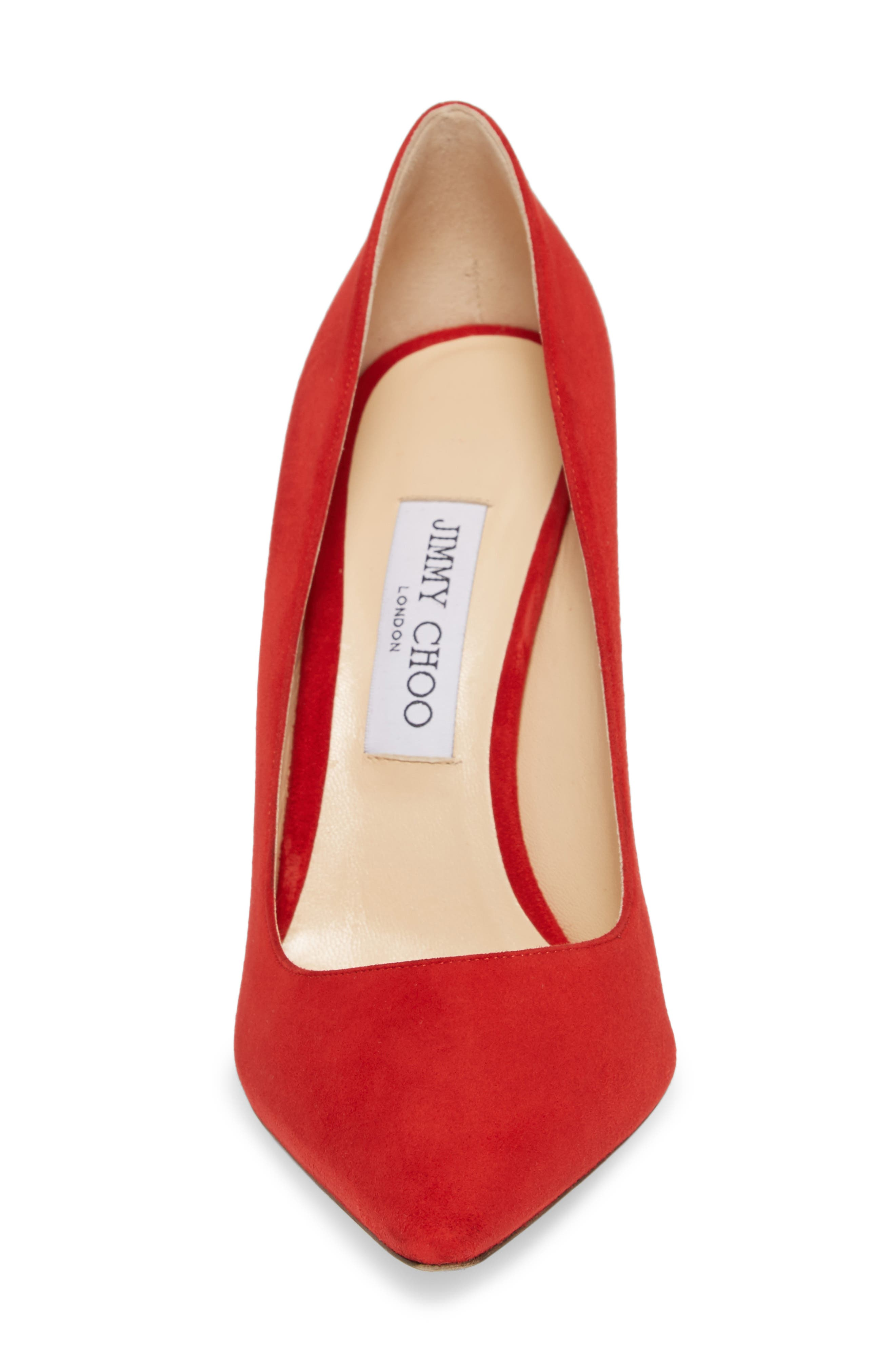 'Romy' Pointy Toe Pump,                             Alternate thumbnail 4, color,                             Red Suede