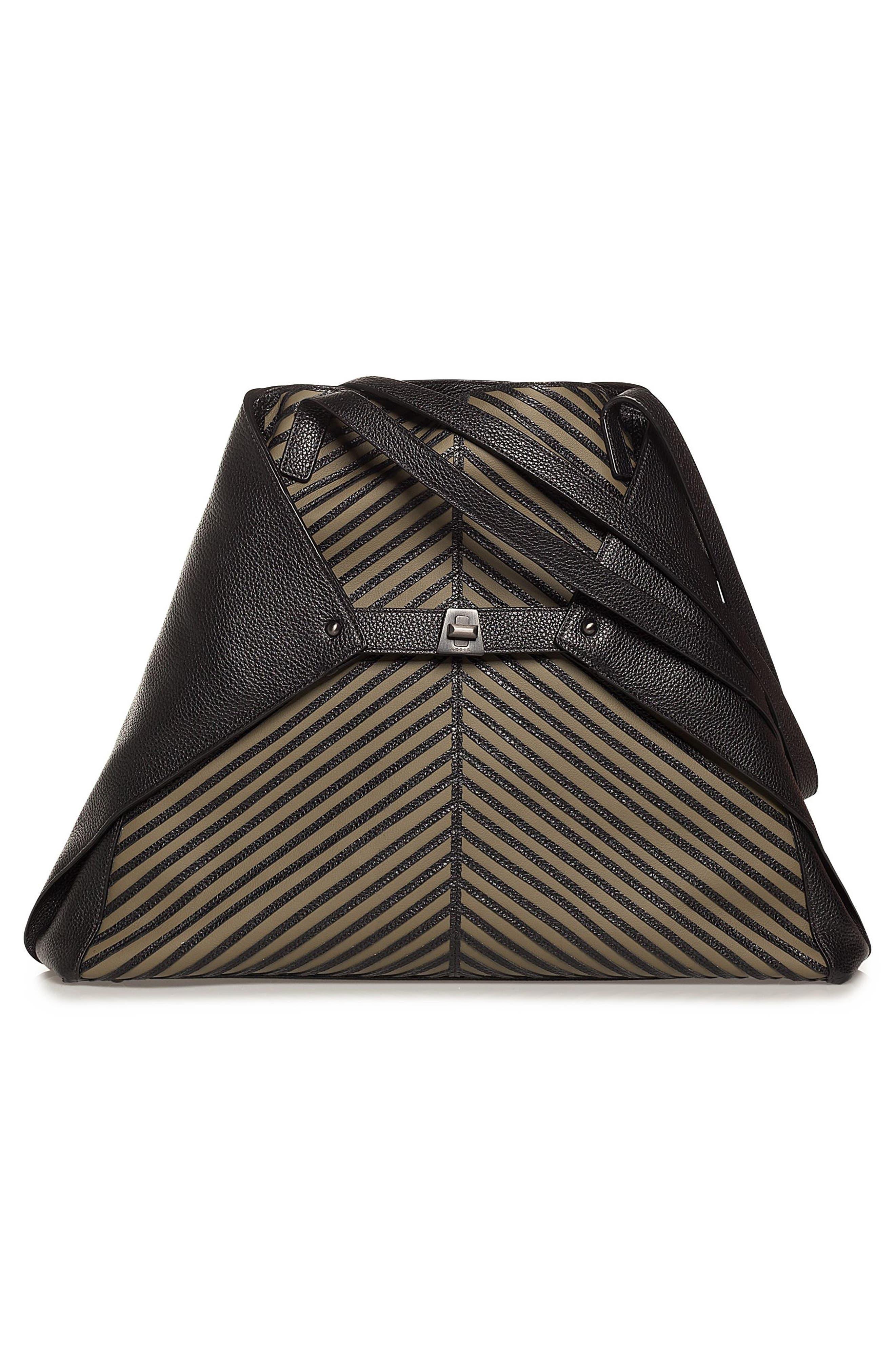 Medium AI Leather Tote,                         Main,                         color, Olive/ Black