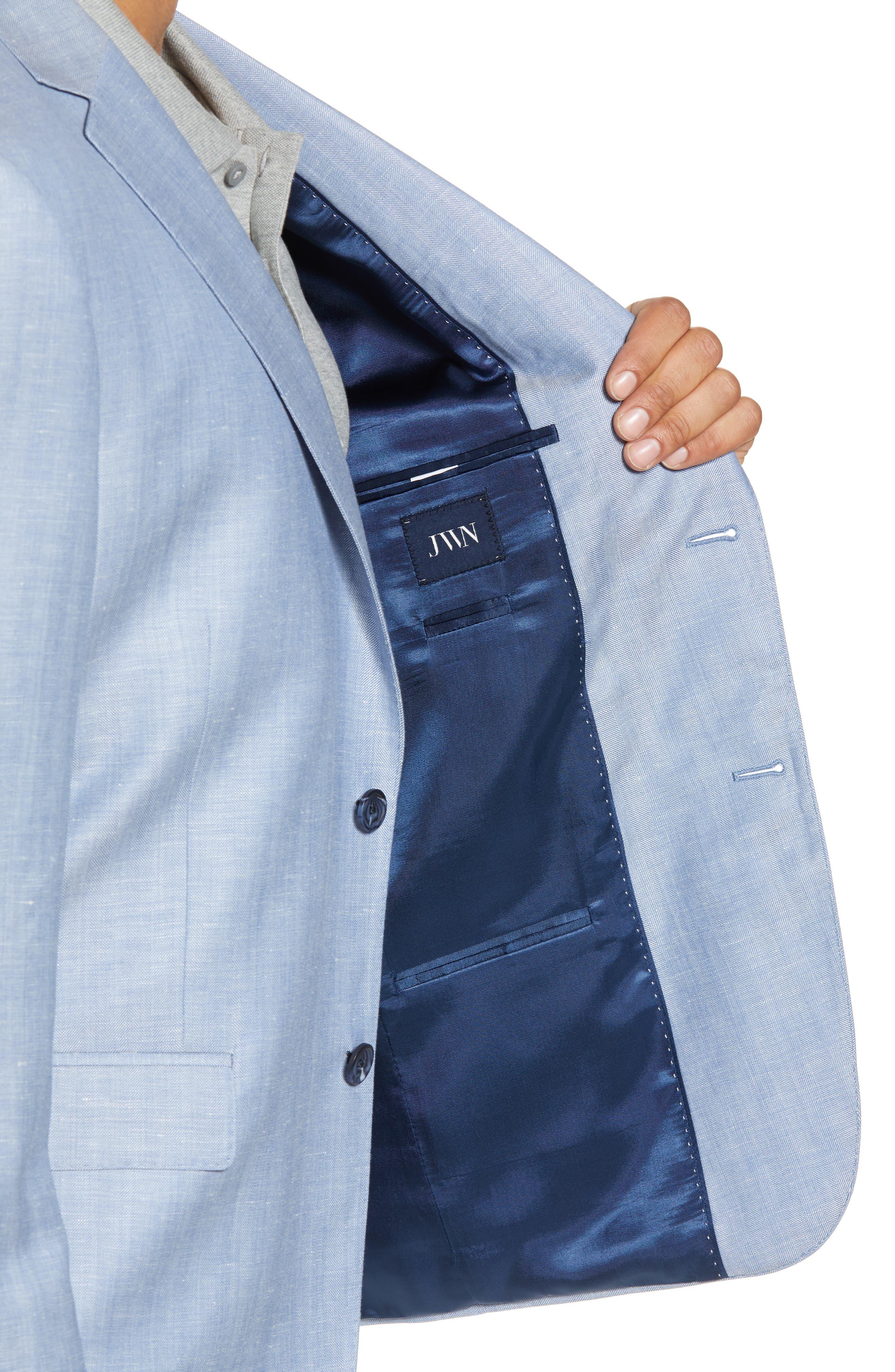 Traditional Fit Herringbone Wool & Linen Sport Coat,                             Alternate thumbnail 3, color,                             Blue