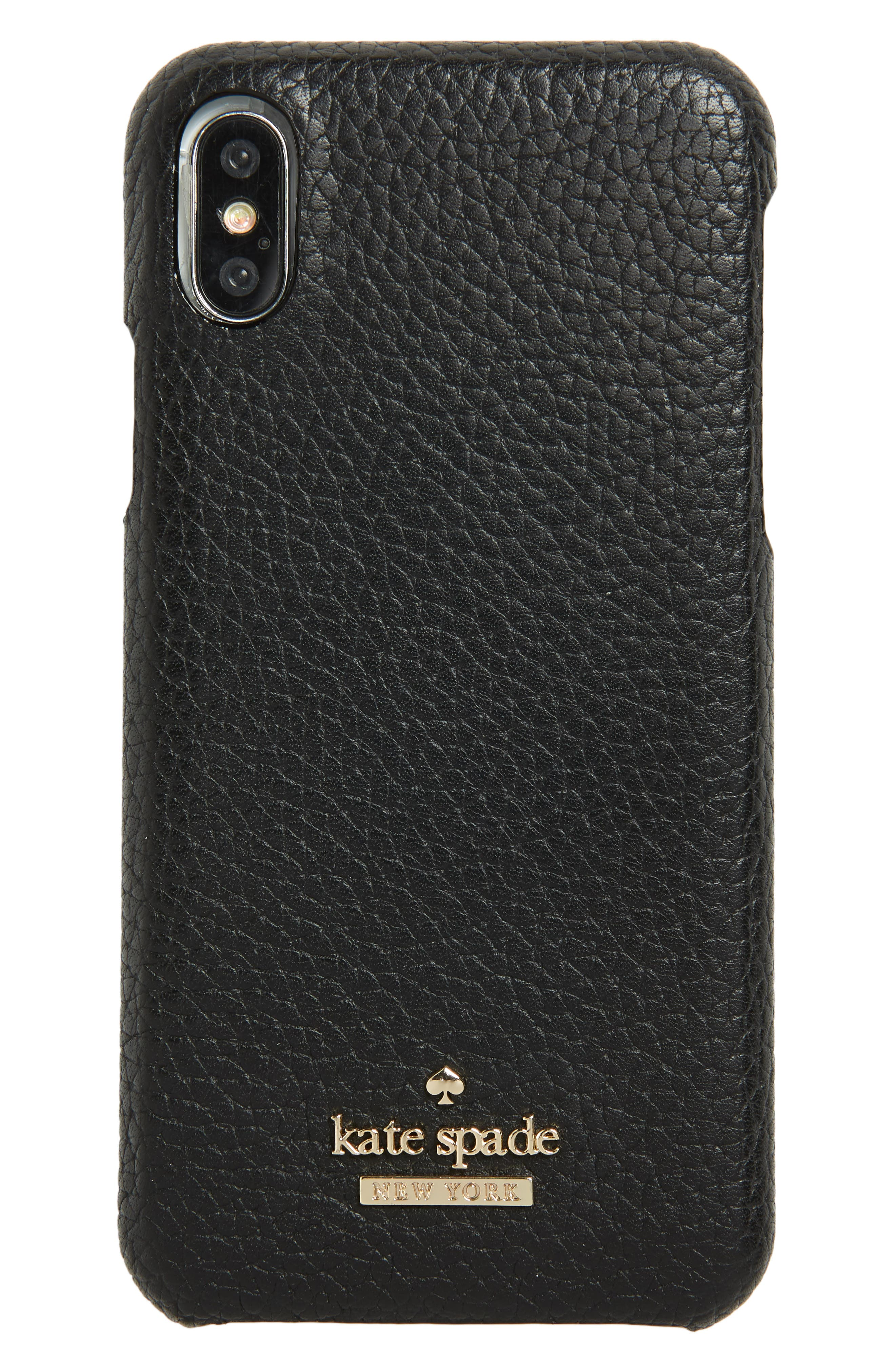pebbled leather iPhone X case,                             Main thumbnail 1, color,                             Black