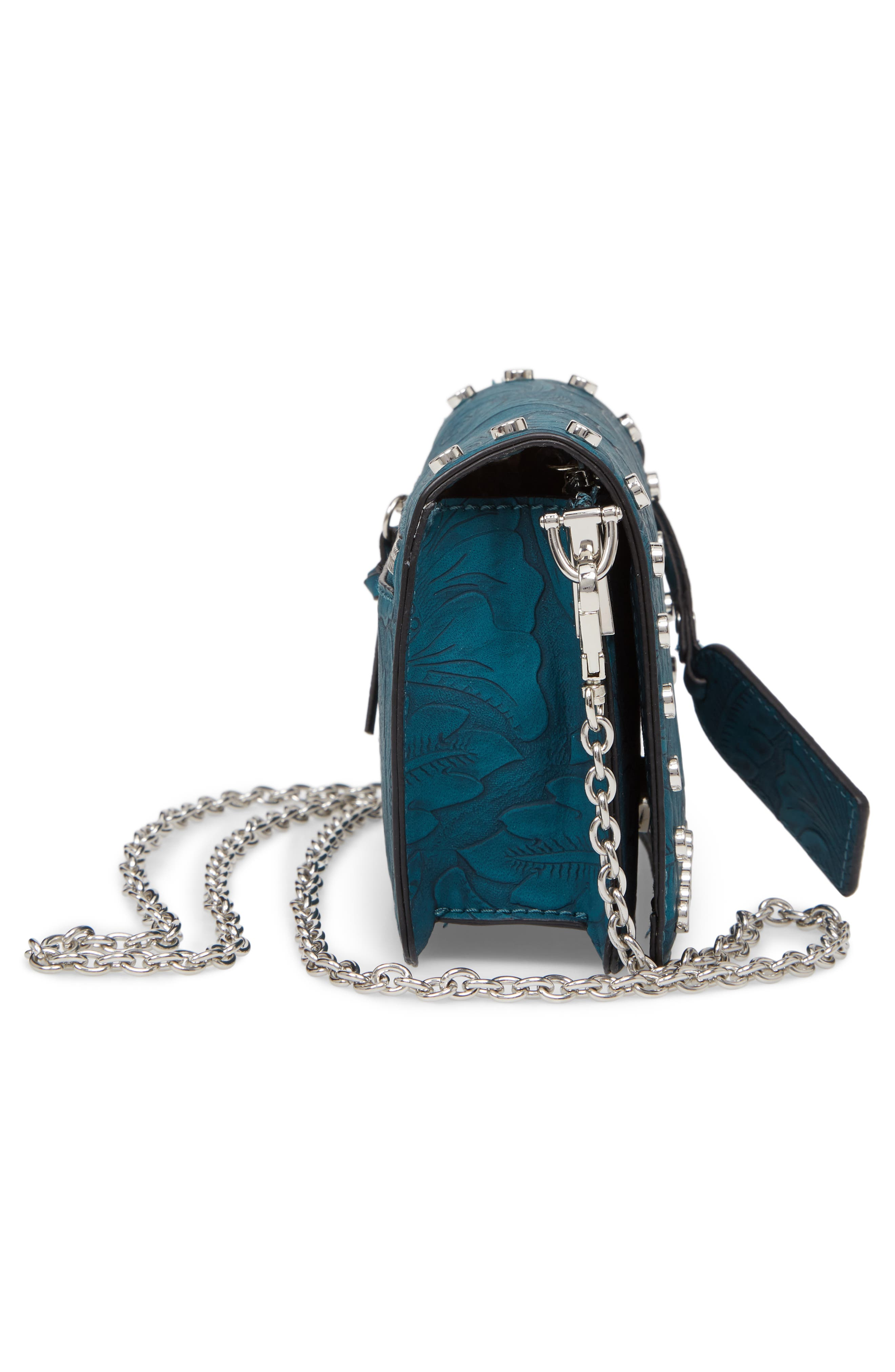 Hawna Faux Leather Crossbody,                             Alternate thumbnail 5, color,                             Teal