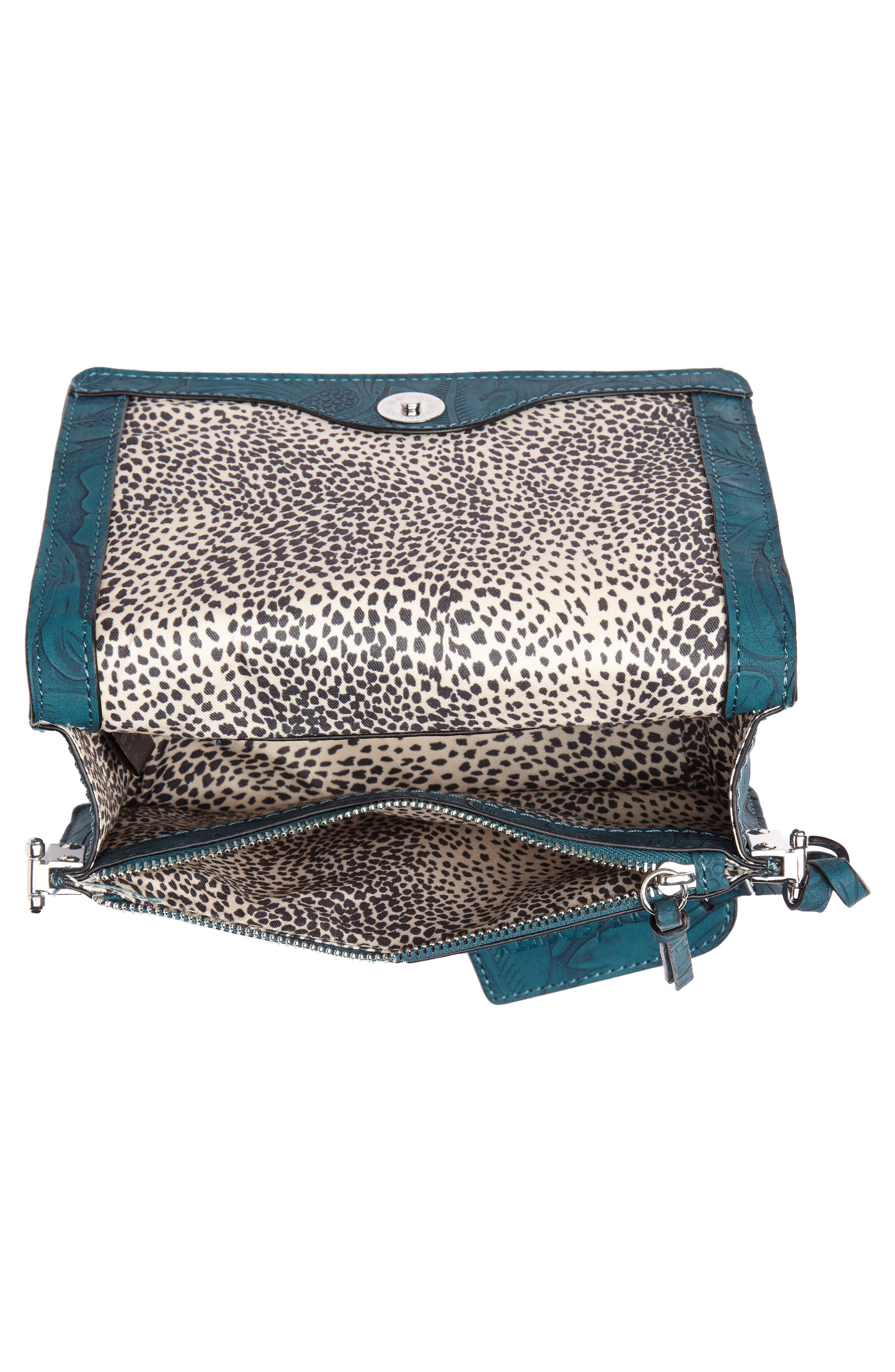 Hawna Faux Leather Crossbody,                             Alternate thumbnail 4, color,                             Teal