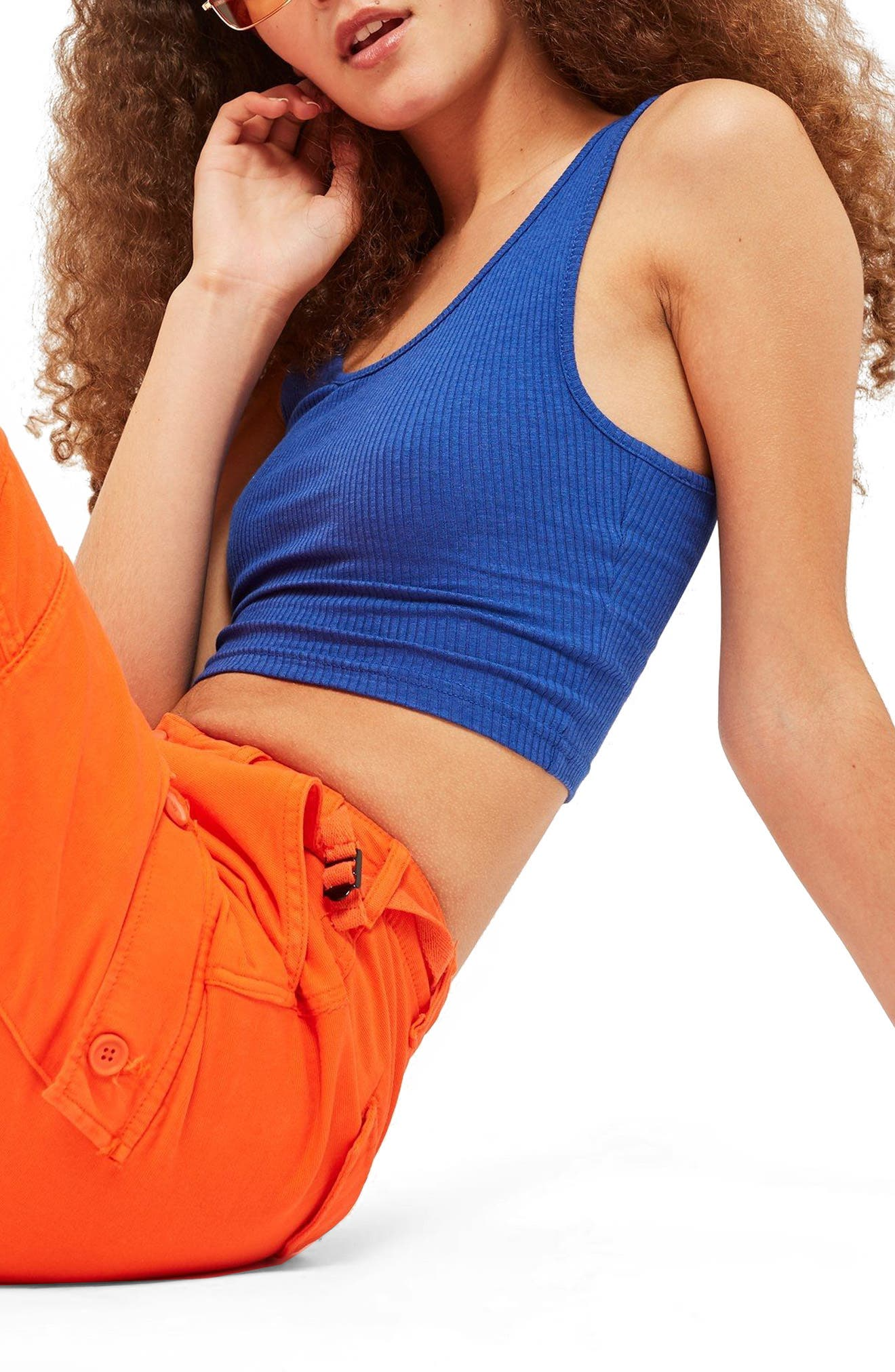 Strappy Scoopback Crop Tank,                             Alternate thumbnail 3, color,                             Blue