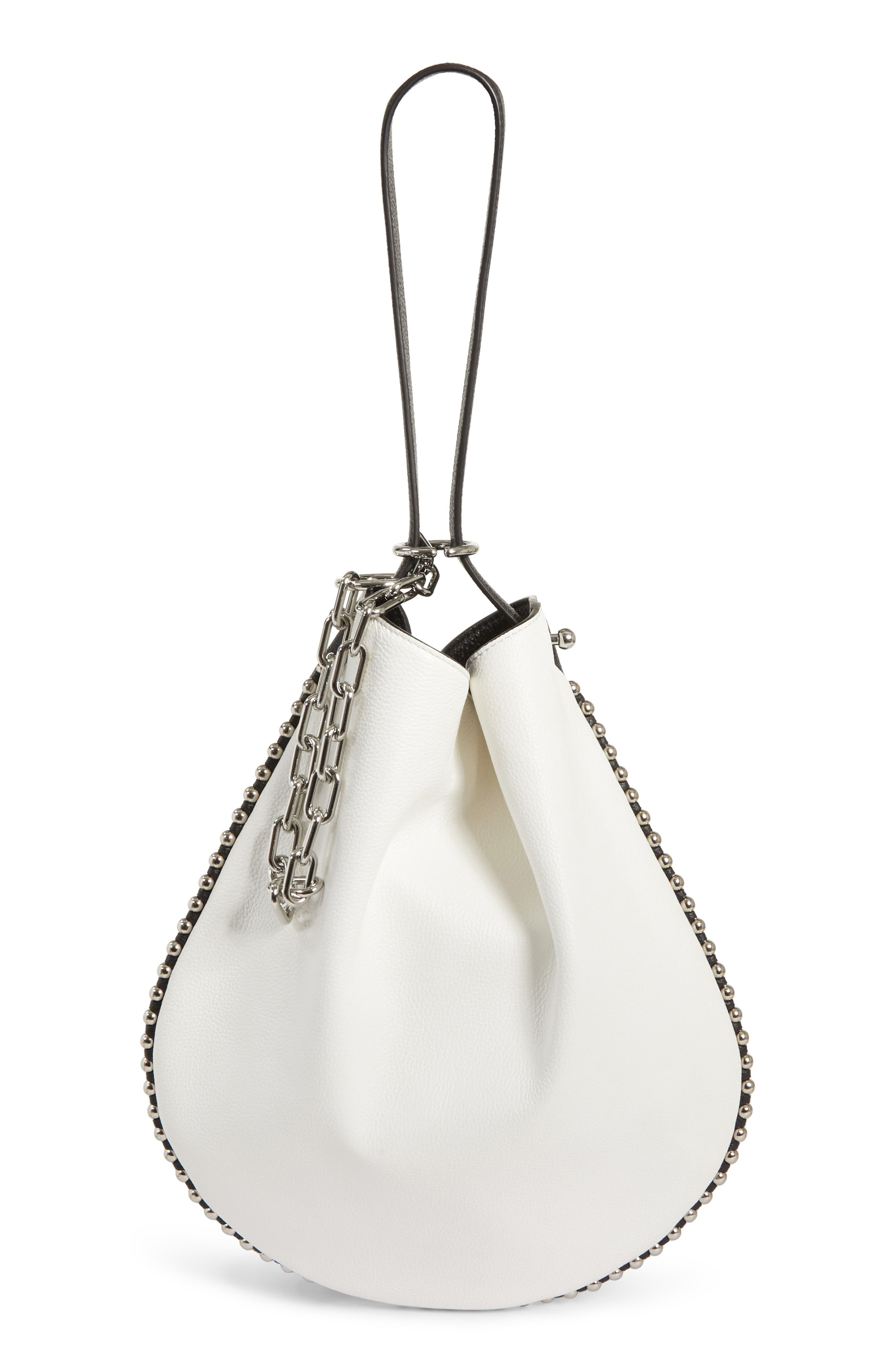 Roxy Hobo Bicolor Pebbled-Leather Shoulder Bag in Bianco