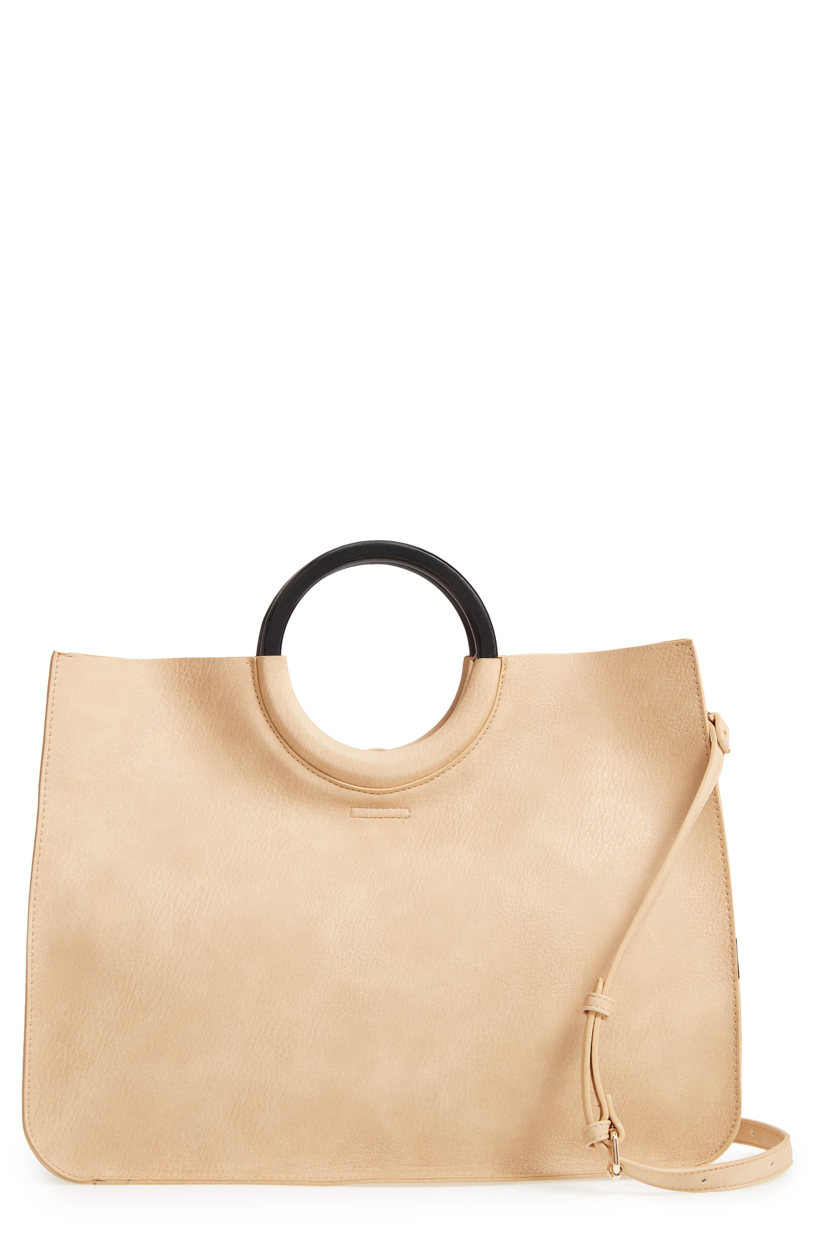 Wood Handle Faux Leather Tote,                             Main thumbnail 1, color,                             Natural