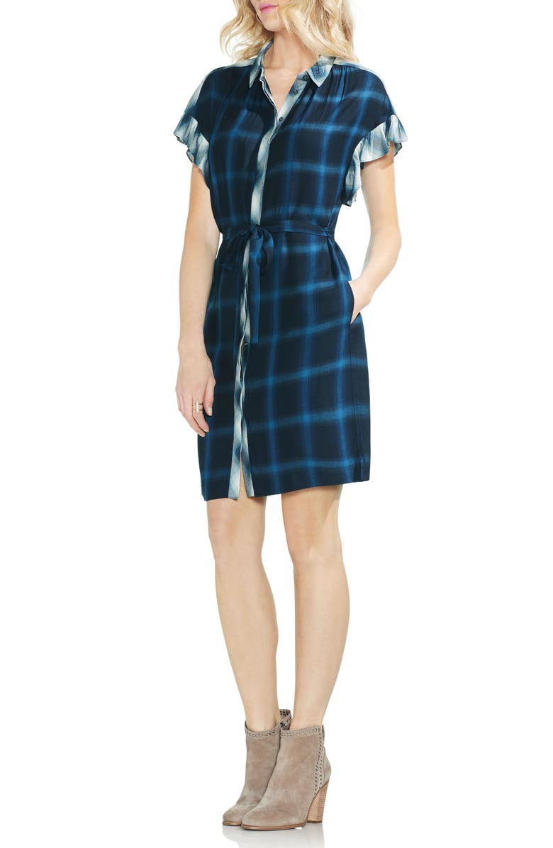 Tartan Plaid Ruffle Sleeve Tie Waist Dress