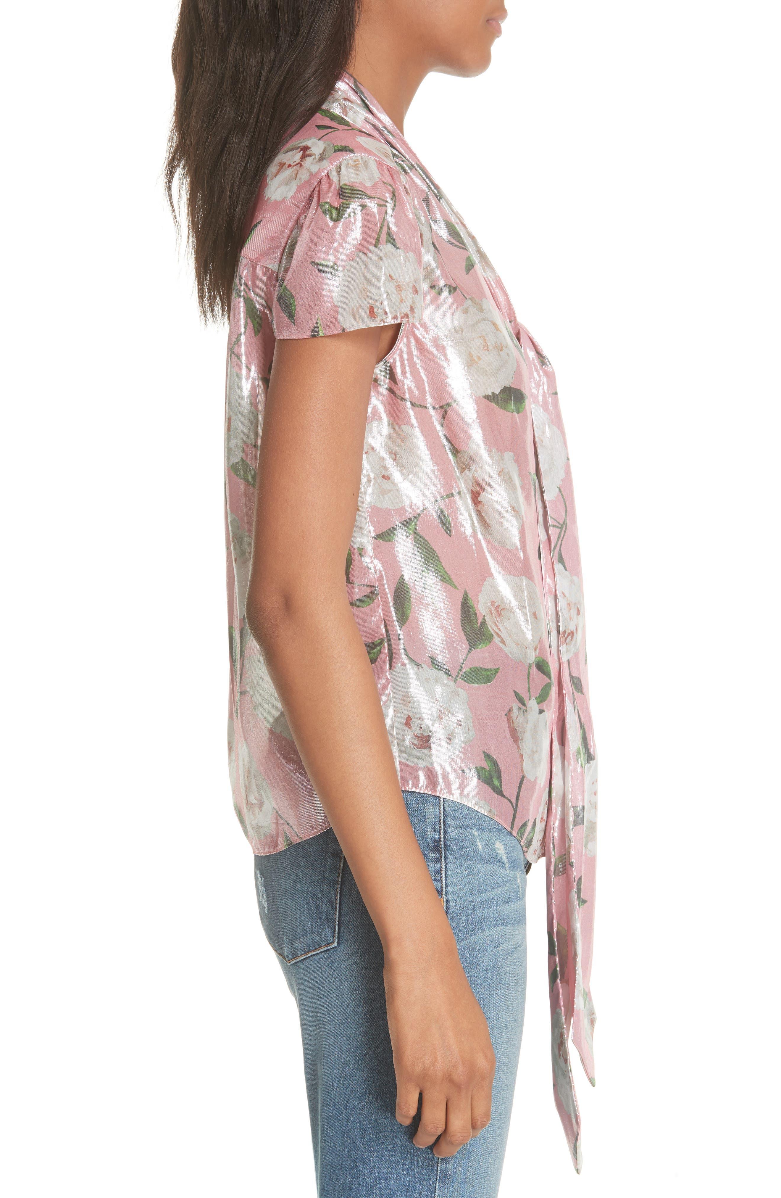 Jeannie Bow Collar Silk Blend Top,                             Alternate thumbnail 5, color,                             Peony Garden Wall/ Bubblegum