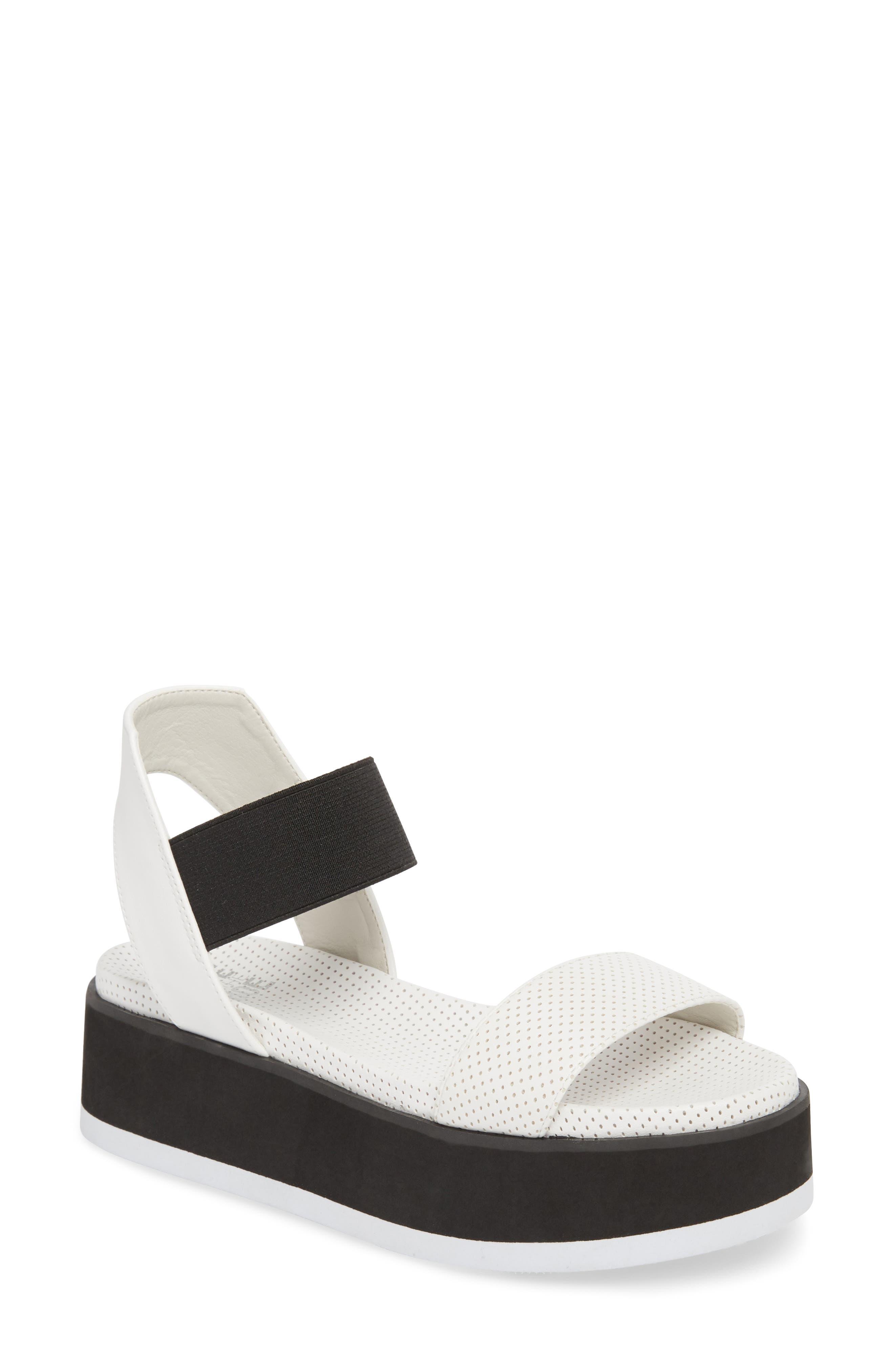 Josie Perforated Platform Sandal,                         Main,                         color, White