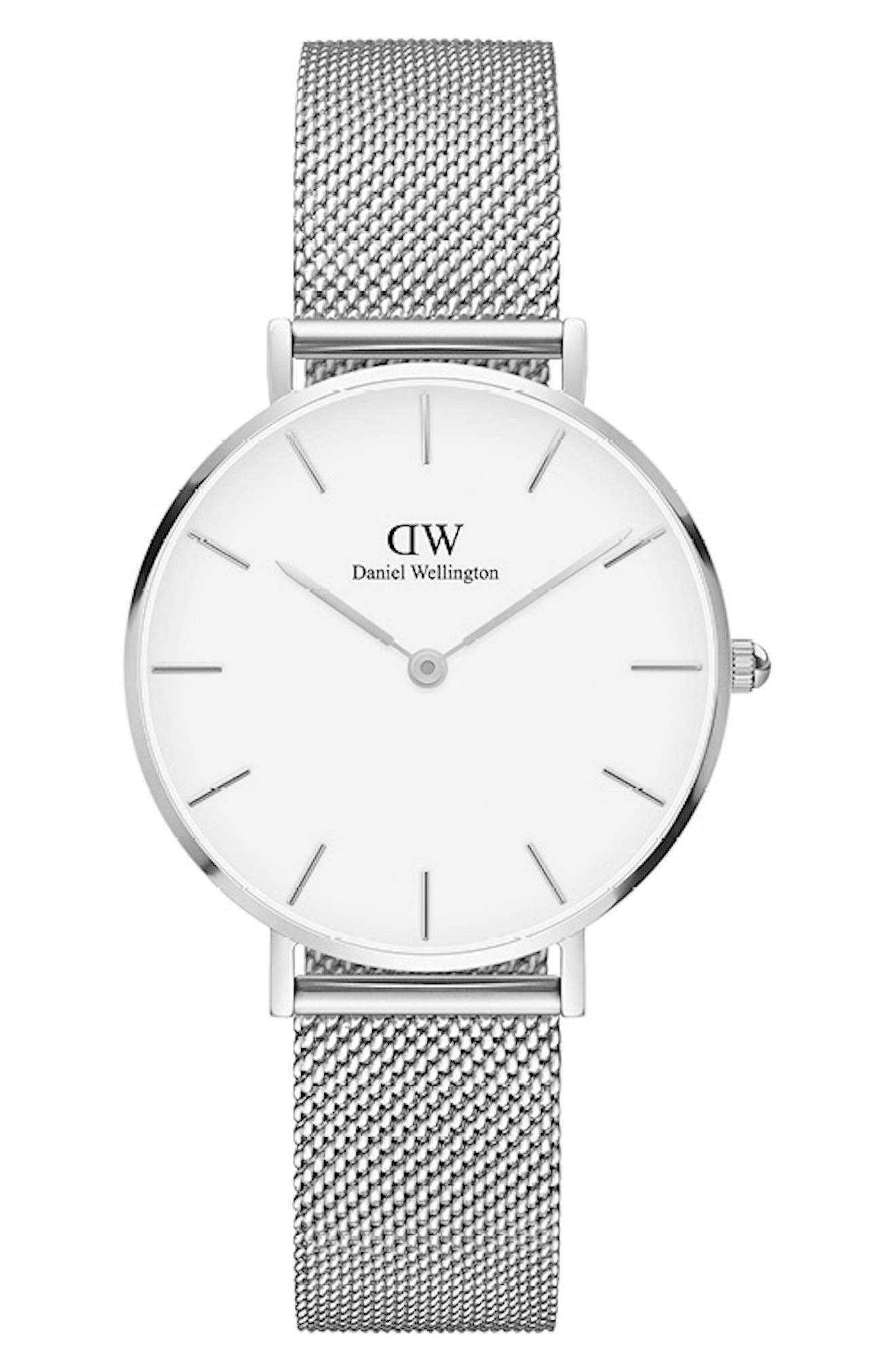 DANIEL WELLINGTON 32Mm Classic Petite Melrose Bracelet Watch W/White Dial in Silver