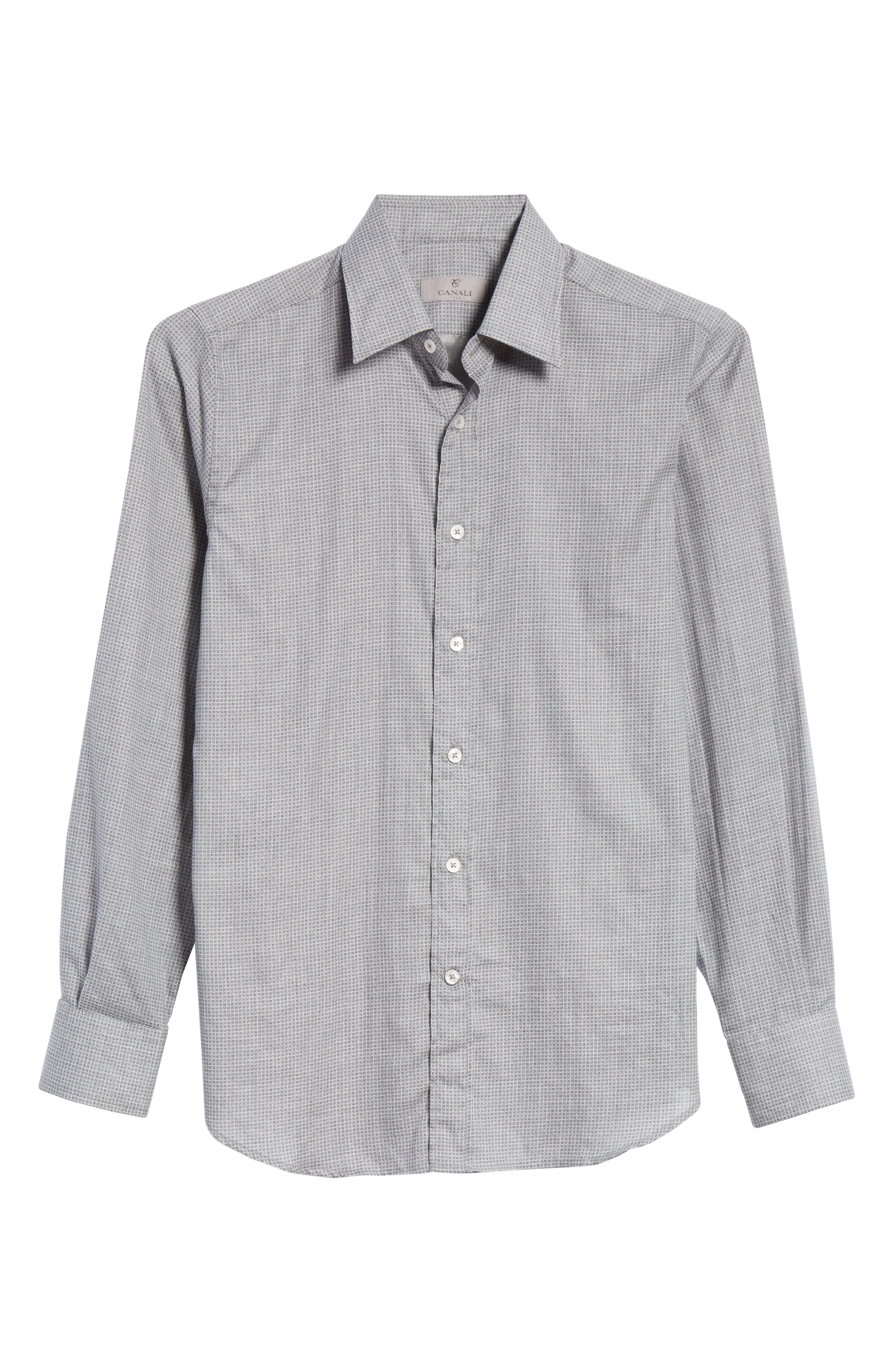 Classic Fit Geometric Dress Shirt,                             Alternate thumbnail 7, color,                             Grey