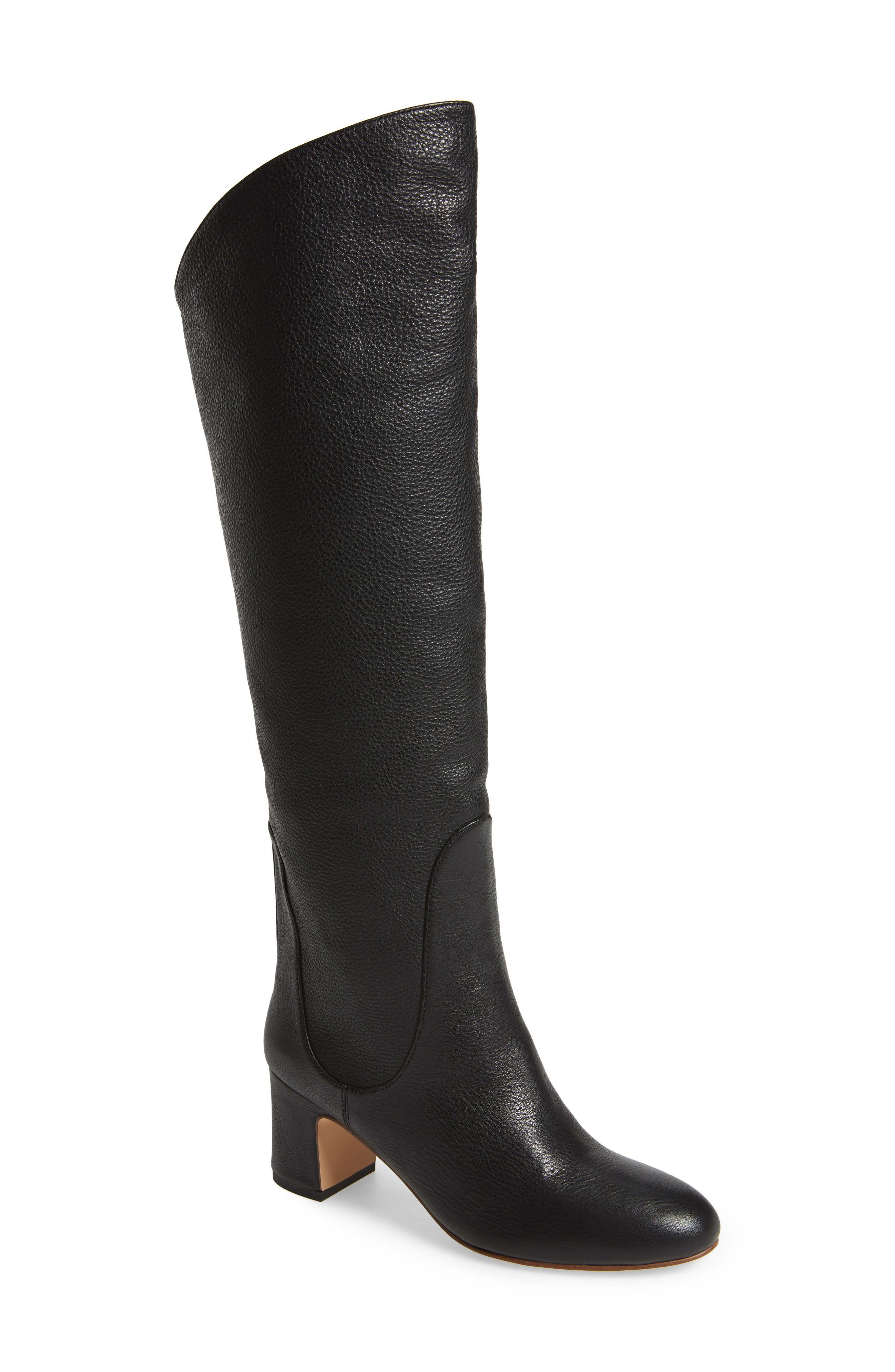 Nick Knee High Boot,                             Main thumbnail 1, color,                             Black Leather