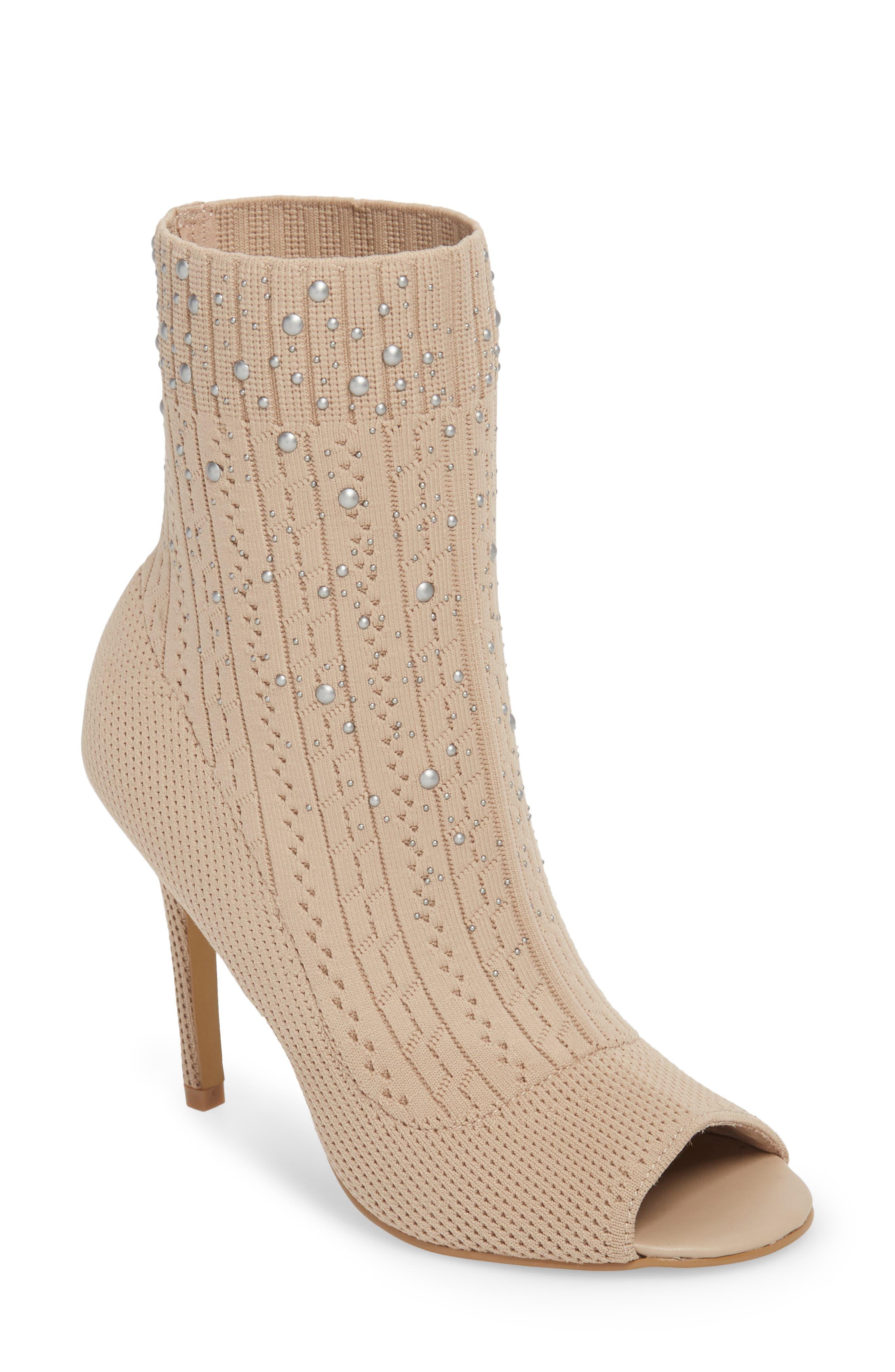 Peep Toe Sock Bootie,                         Main,                         color, Nude Fabric