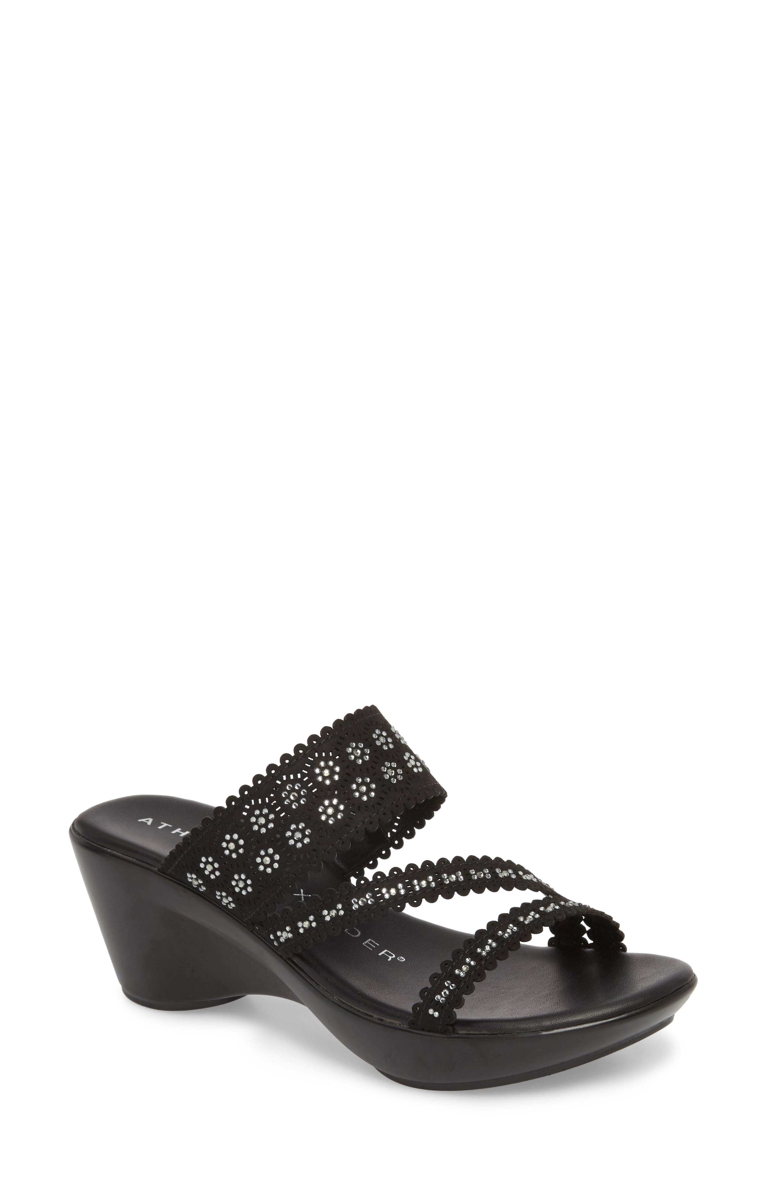 Poppy Wedge Sandal,                         Main,                         color, Black Fabric