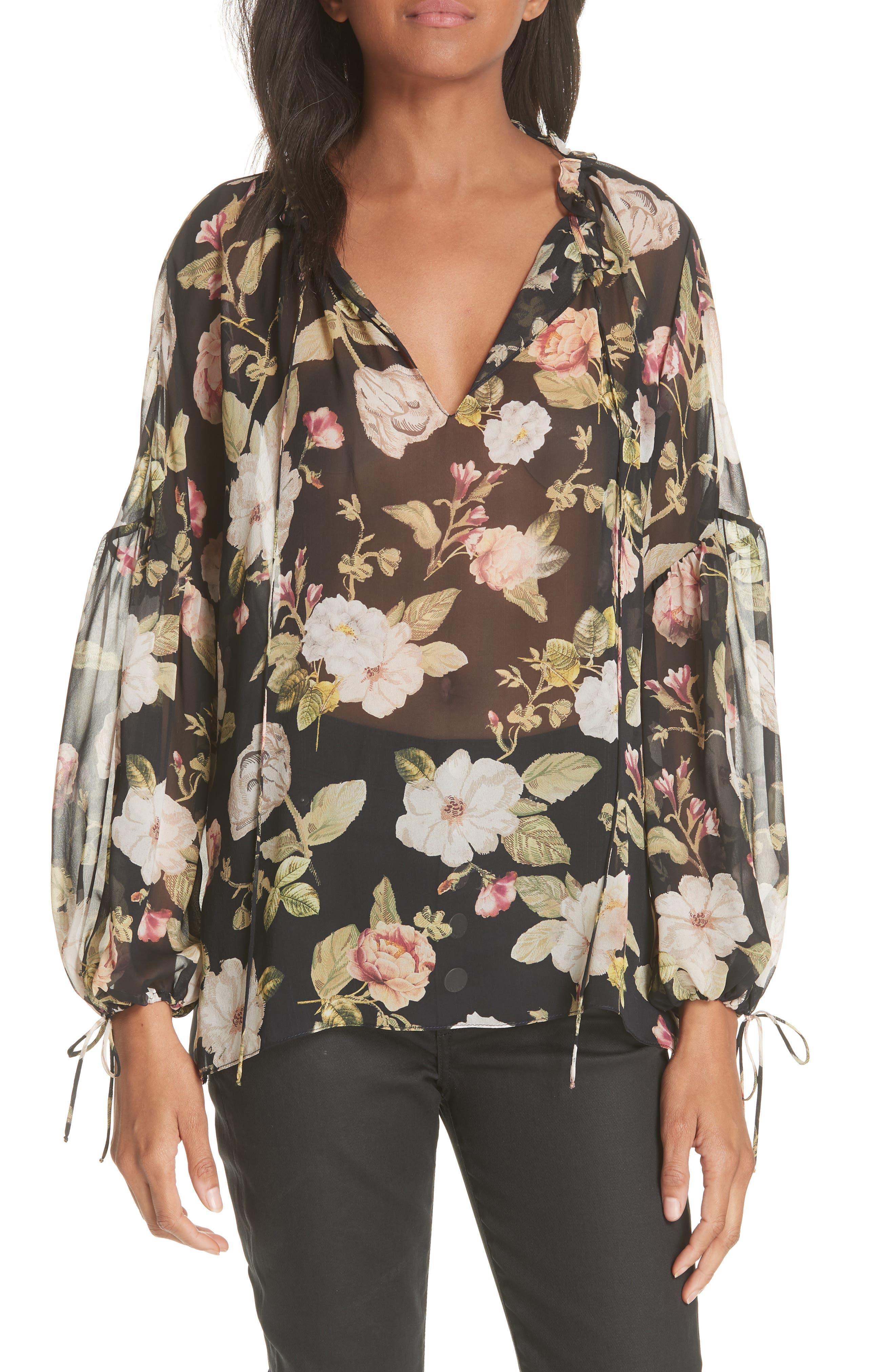 Julius Sheer Silk Tunic Blouse,                         Main,                         color, Hazy Floral Black