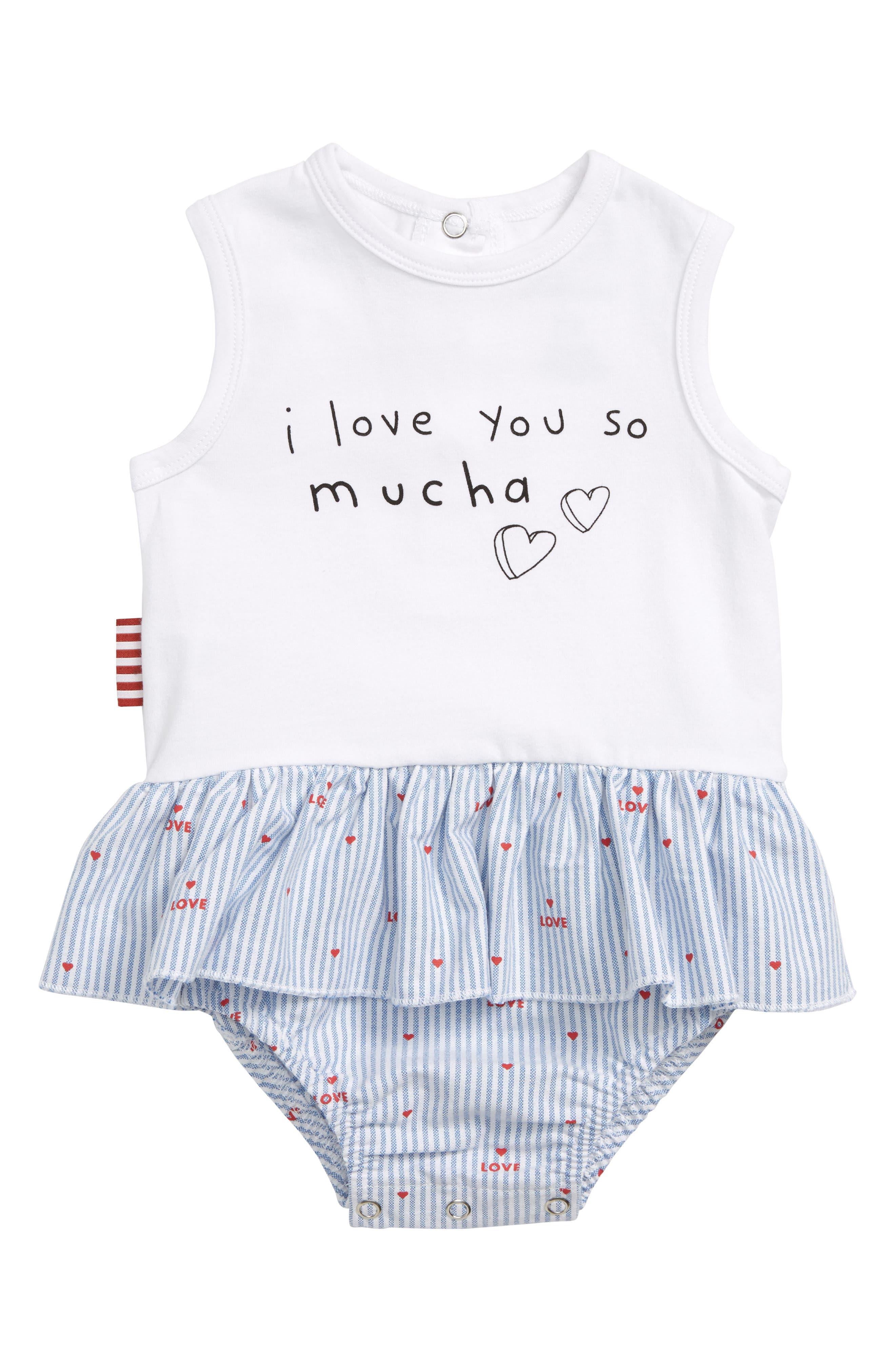Love you Mucha Skirted Bodysuit,                         Main,                         color, White Multi