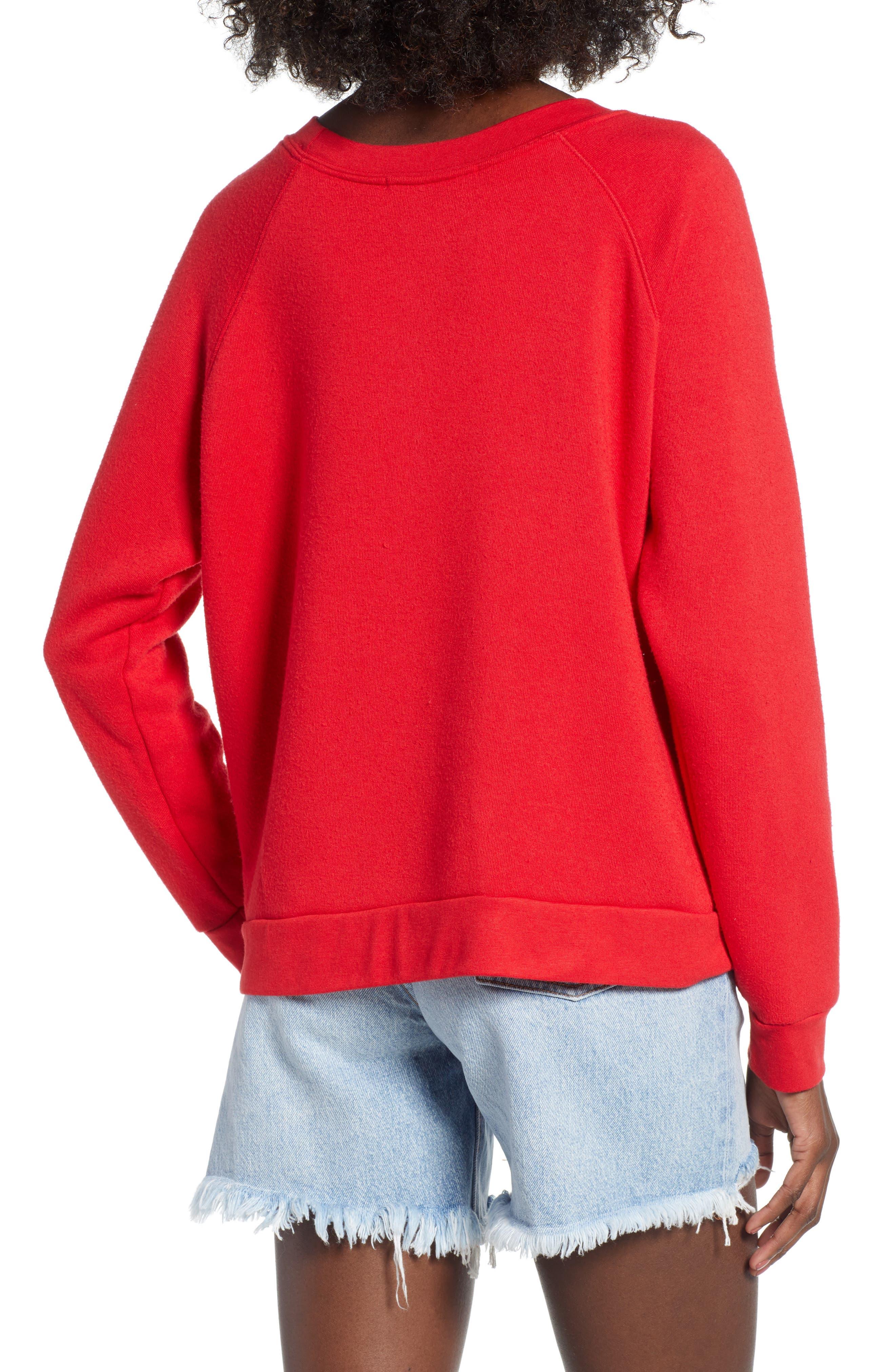 Reversible Sweatshirt,                             Alternate thumbnail 3, color,                             Red