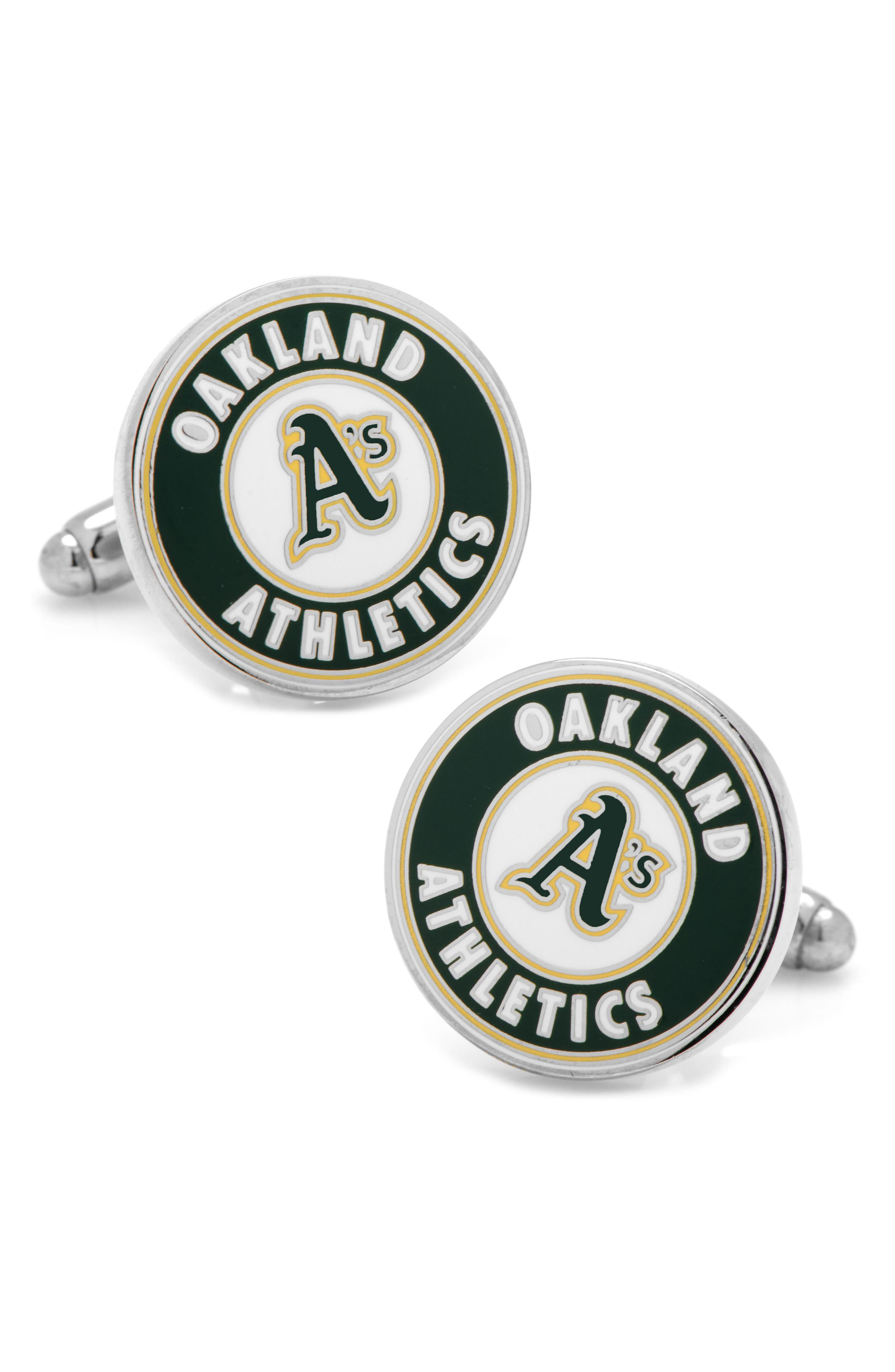 Oakland Athletics Cuff Links,                         Main,                         color, Green