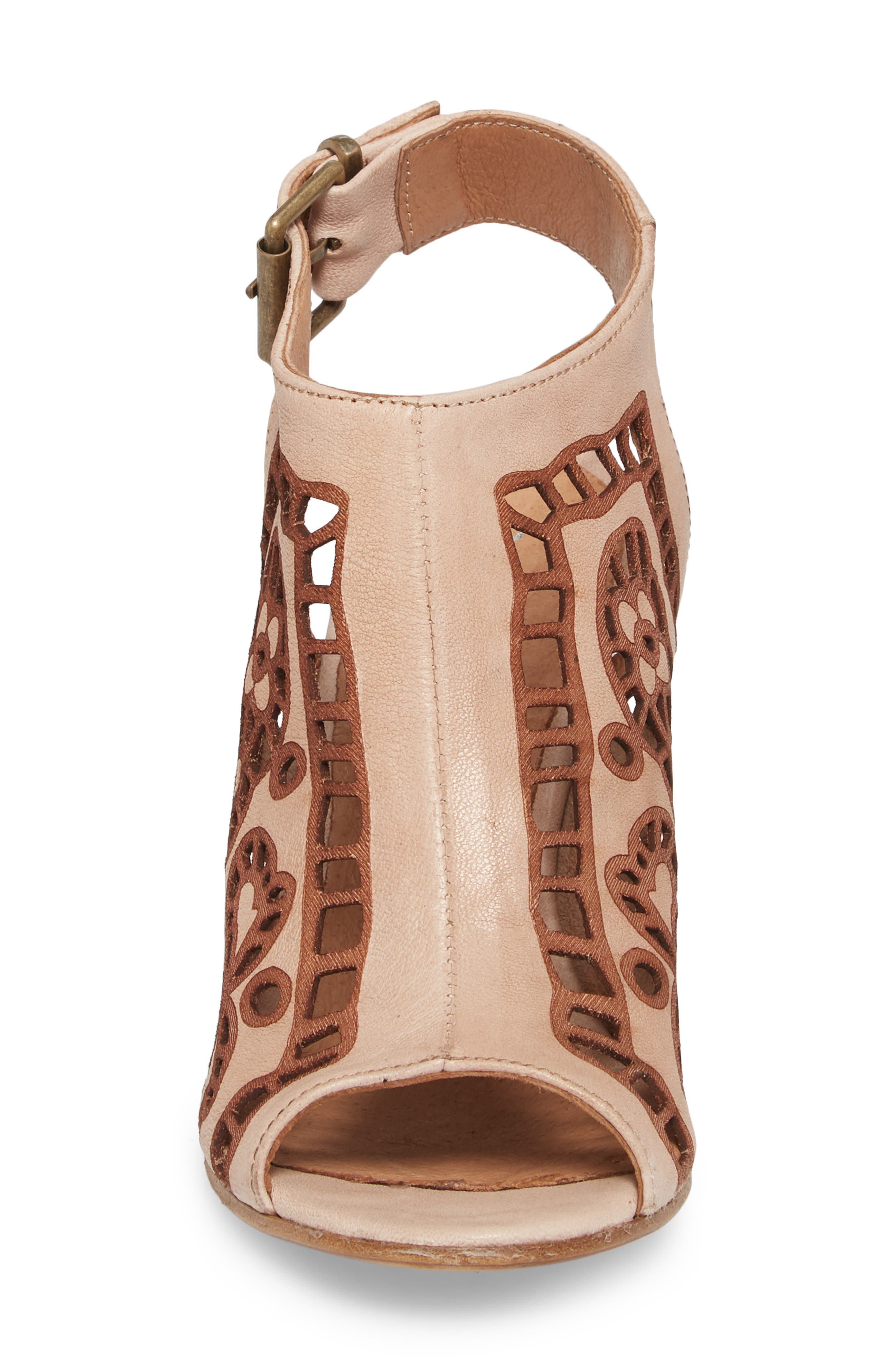 Sabrina Floral Cutout Shield Sandal,                             Alternate thumbnail 6, color,                             Blush Leather