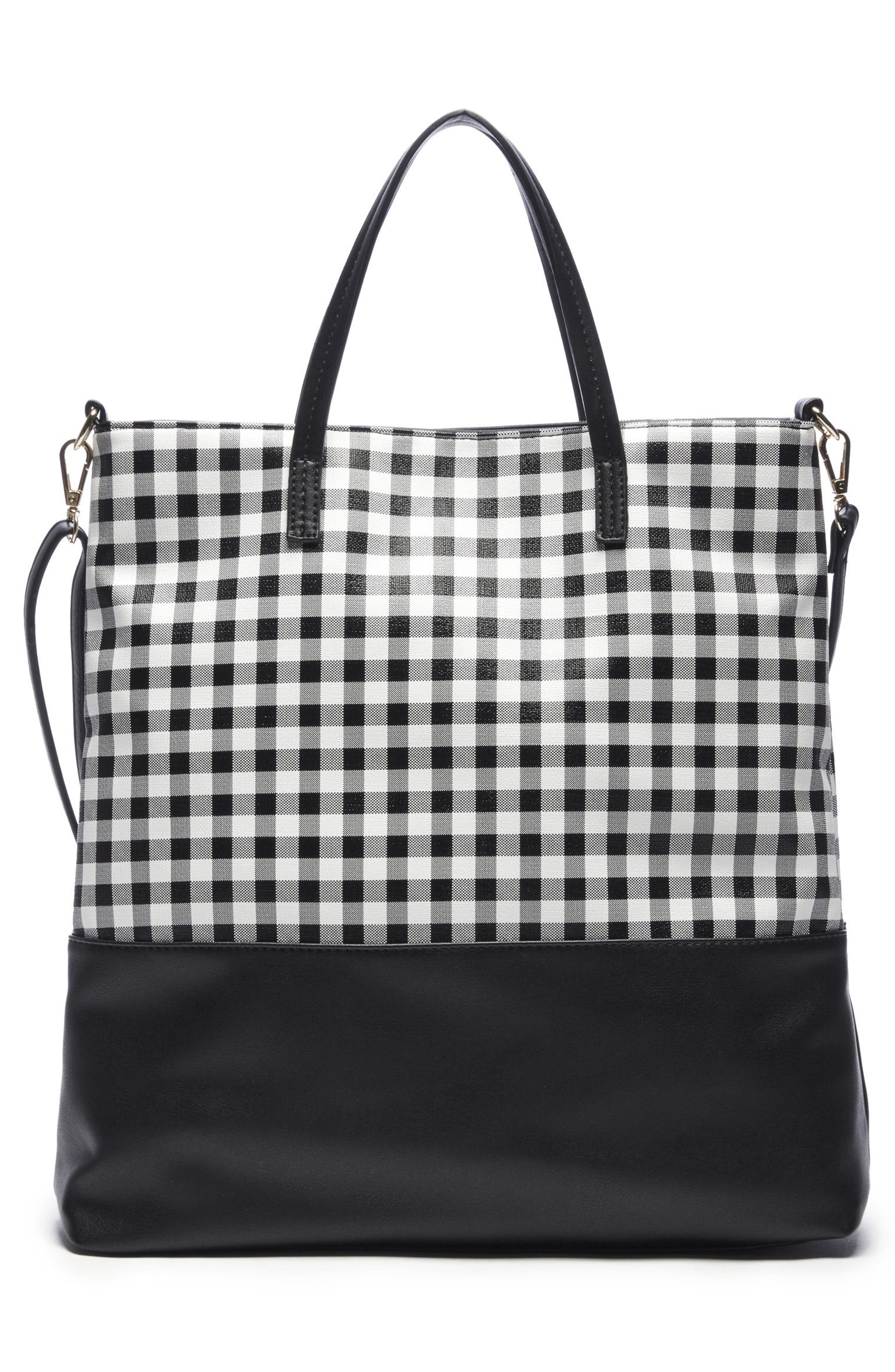 Gingham Faux Leather Tote,                             Alternate thumbnail 2, color,                             Black/ White