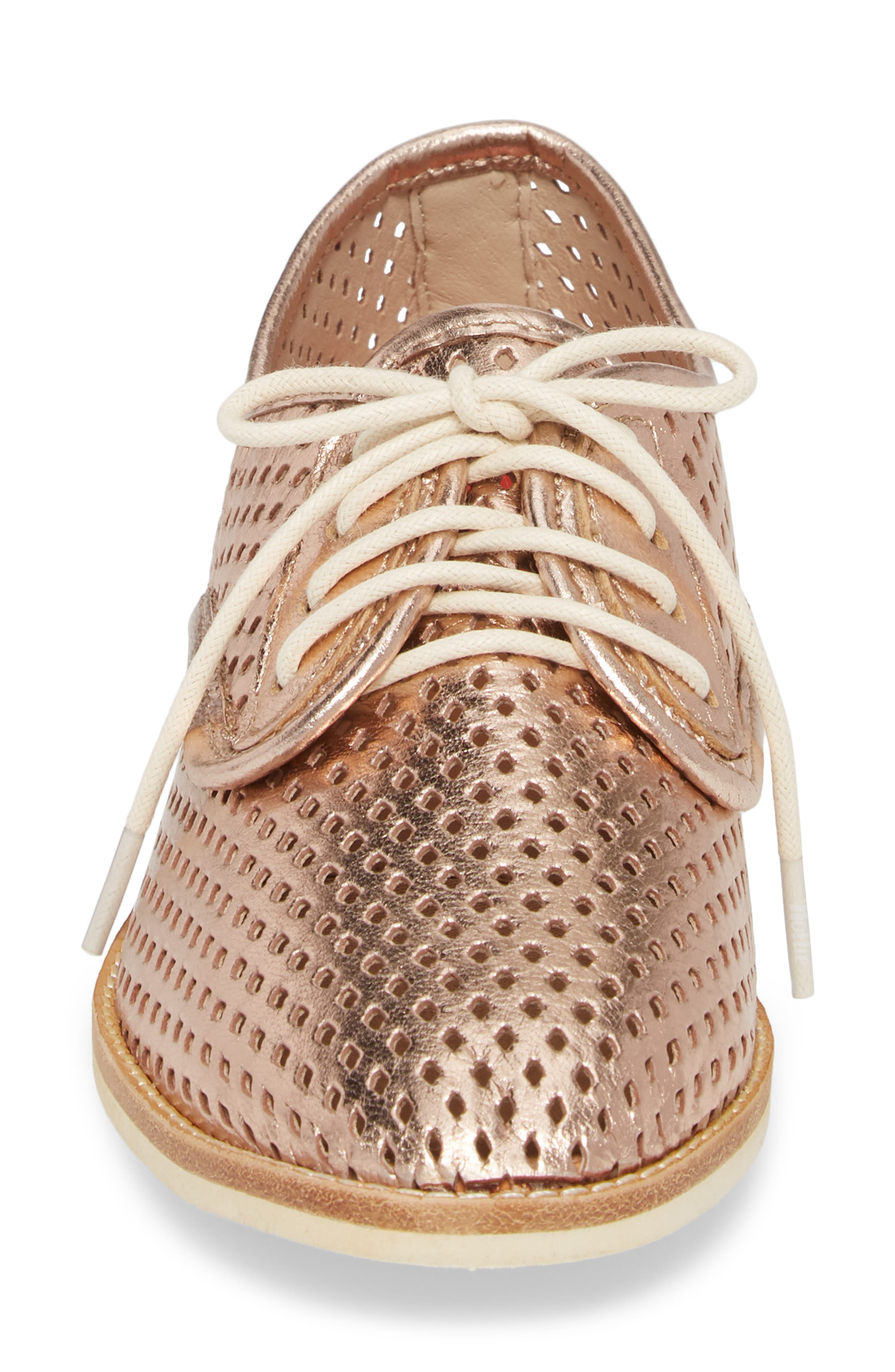 Punch Perforated Derby,                             Alternate thumbnail 4, color,                             Rose Gold Leather