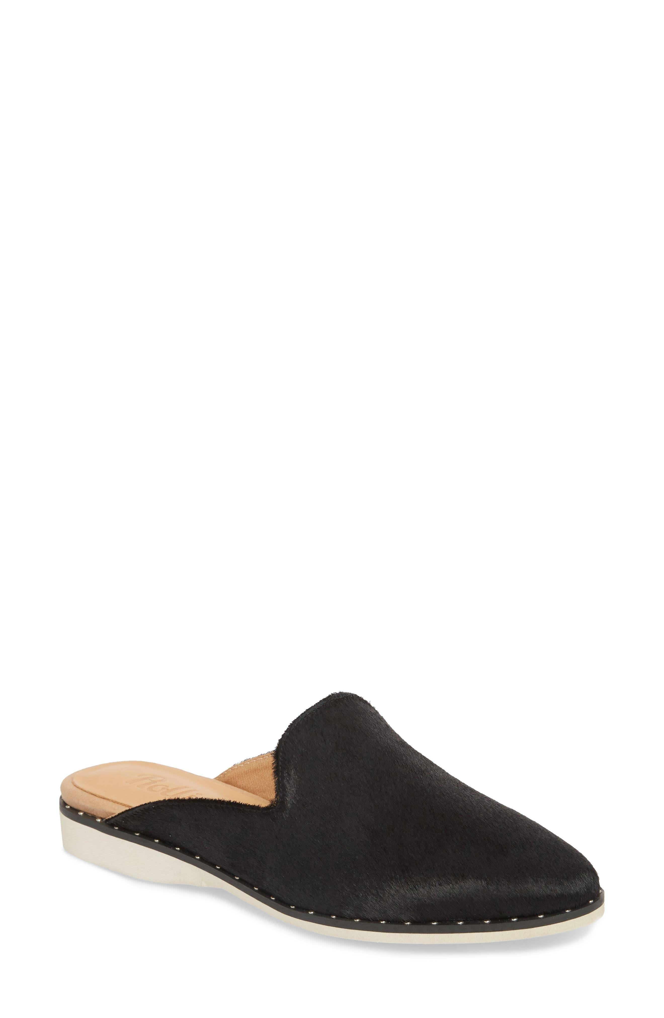 Madison Studded Genuine Calf Hair Loafer Mule,                             Main thumbnail 1, color,                             Black Calf Hair