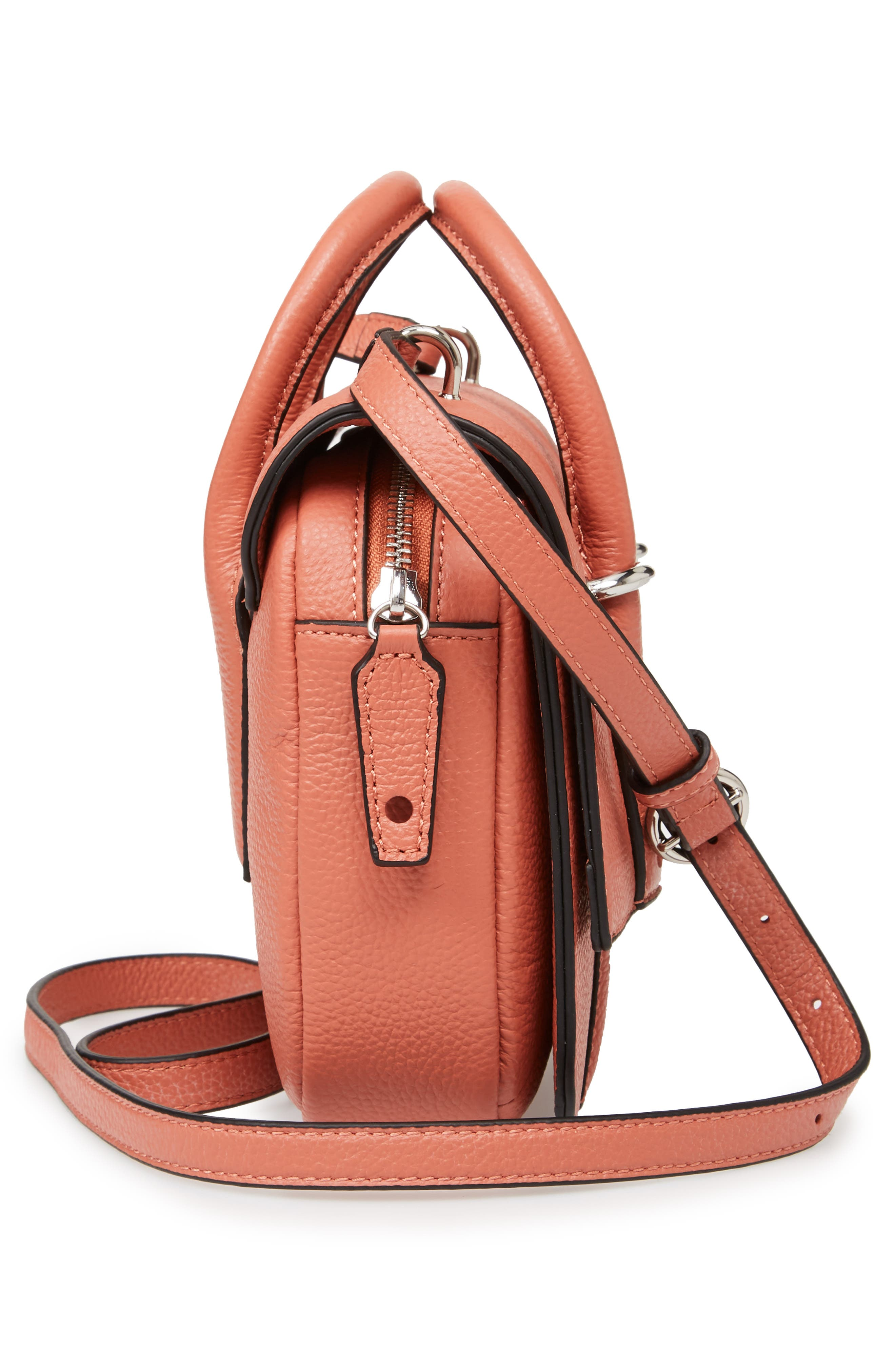 Kinsley Leather Crossbody Bag,                             Alternate thumbnail 4, color,                             Red