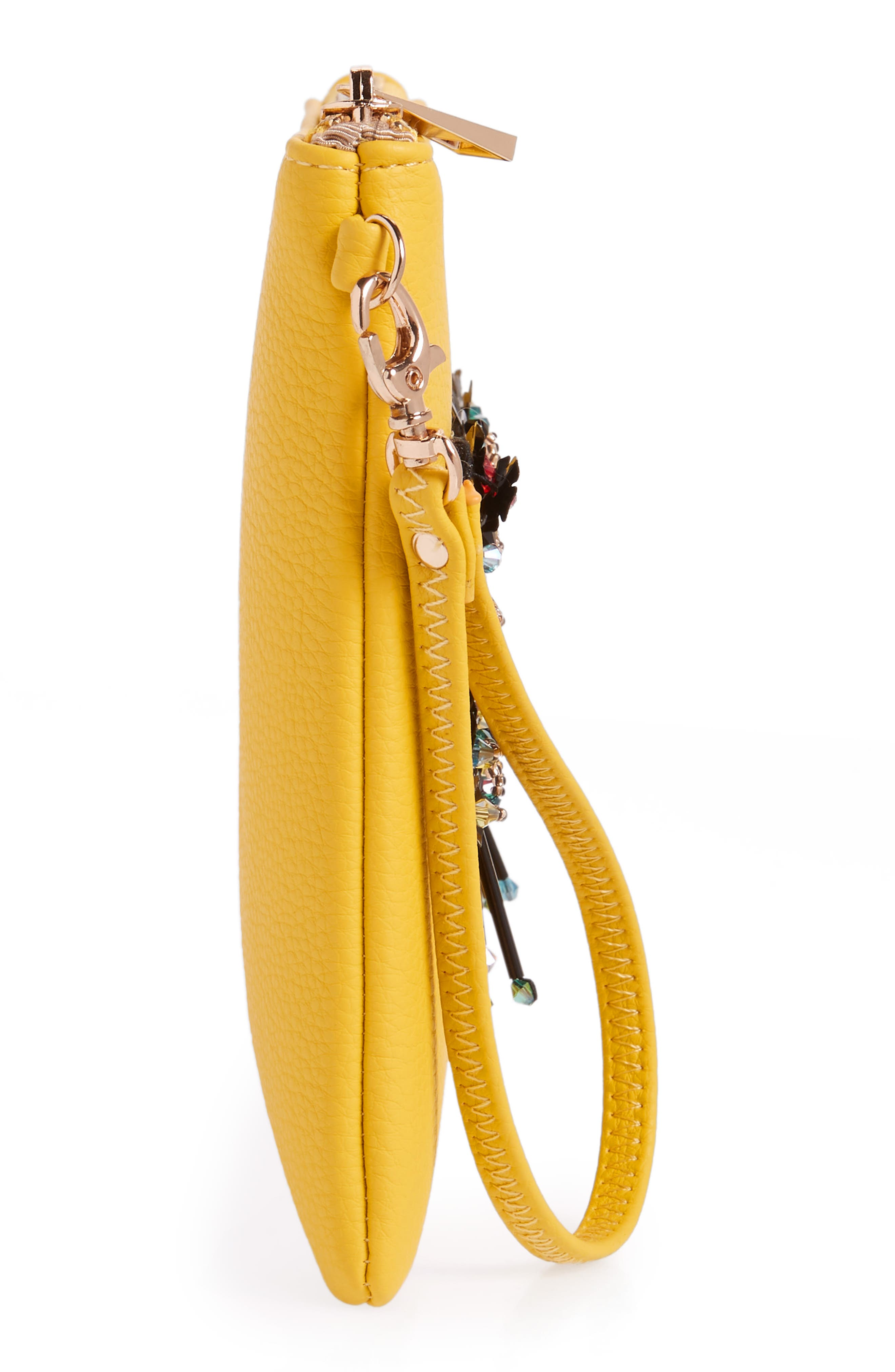 Love Embellished Faux Leather Wristlet,                             Alternate thumbnail 4, color,                             Yellow
