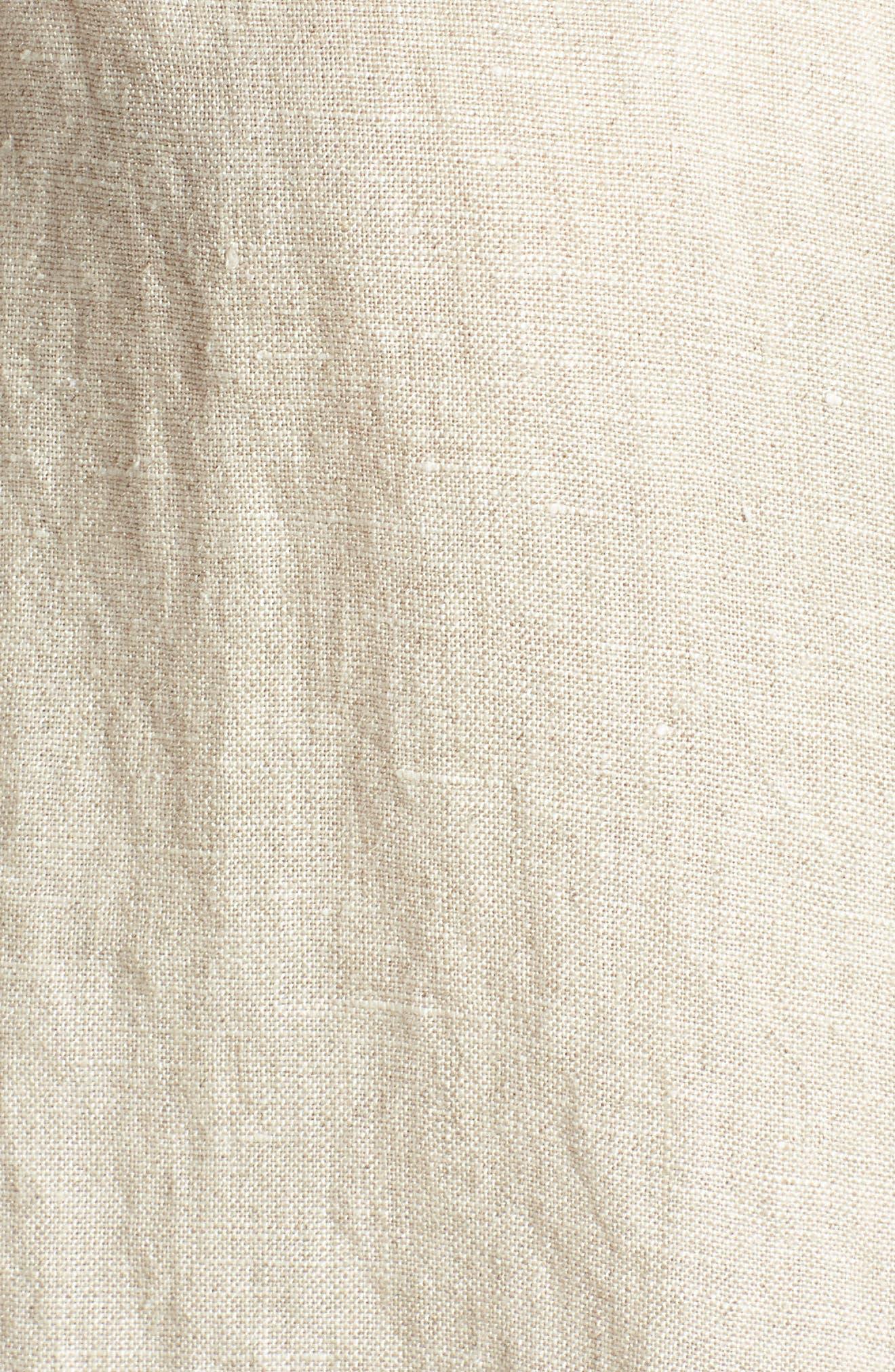 Tie Front Linen Shirt,                             Alternate thumbnail 5, color,                             Flax